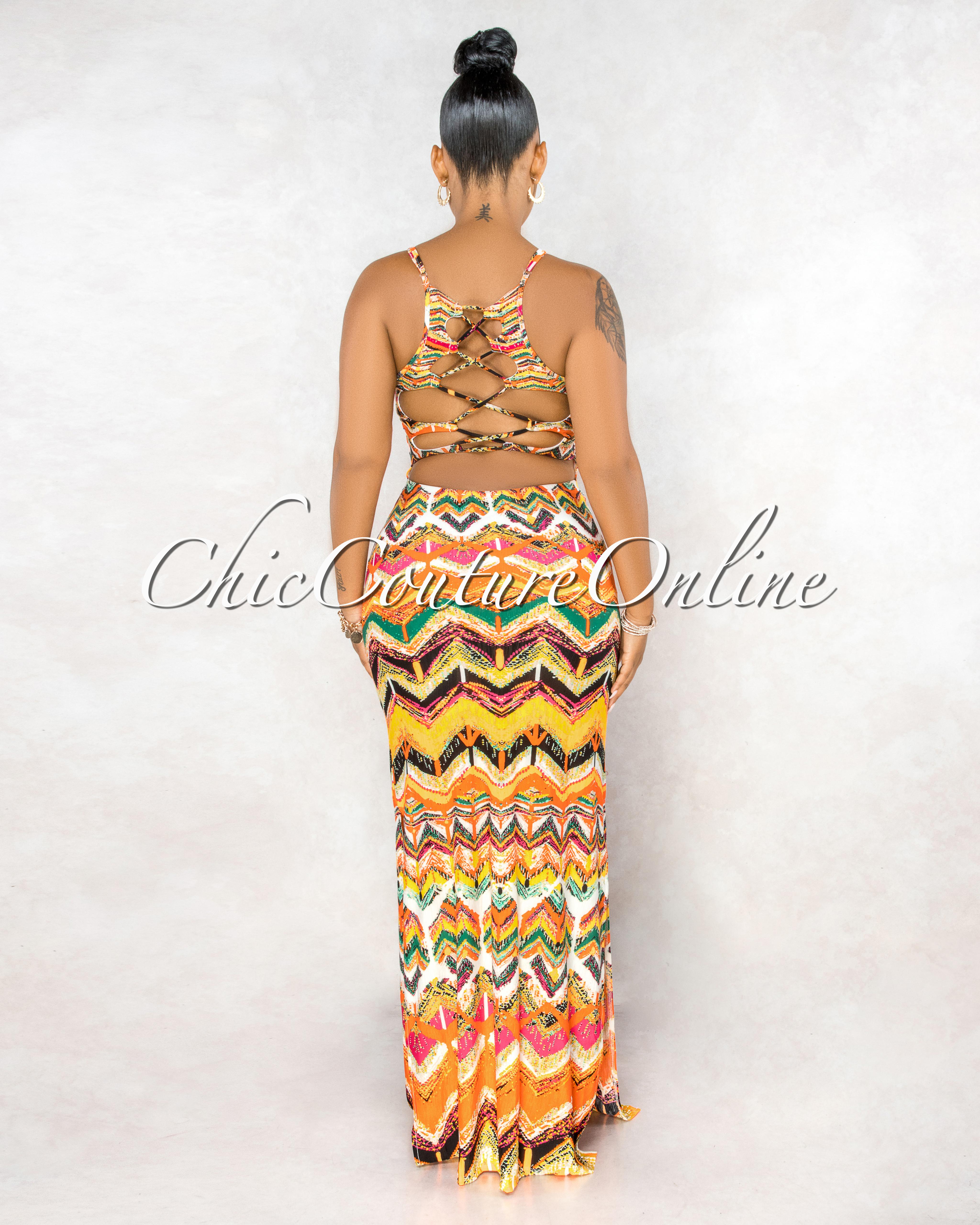 Twyla Orange Multi-Color Print Strapy Back Maxi Dress