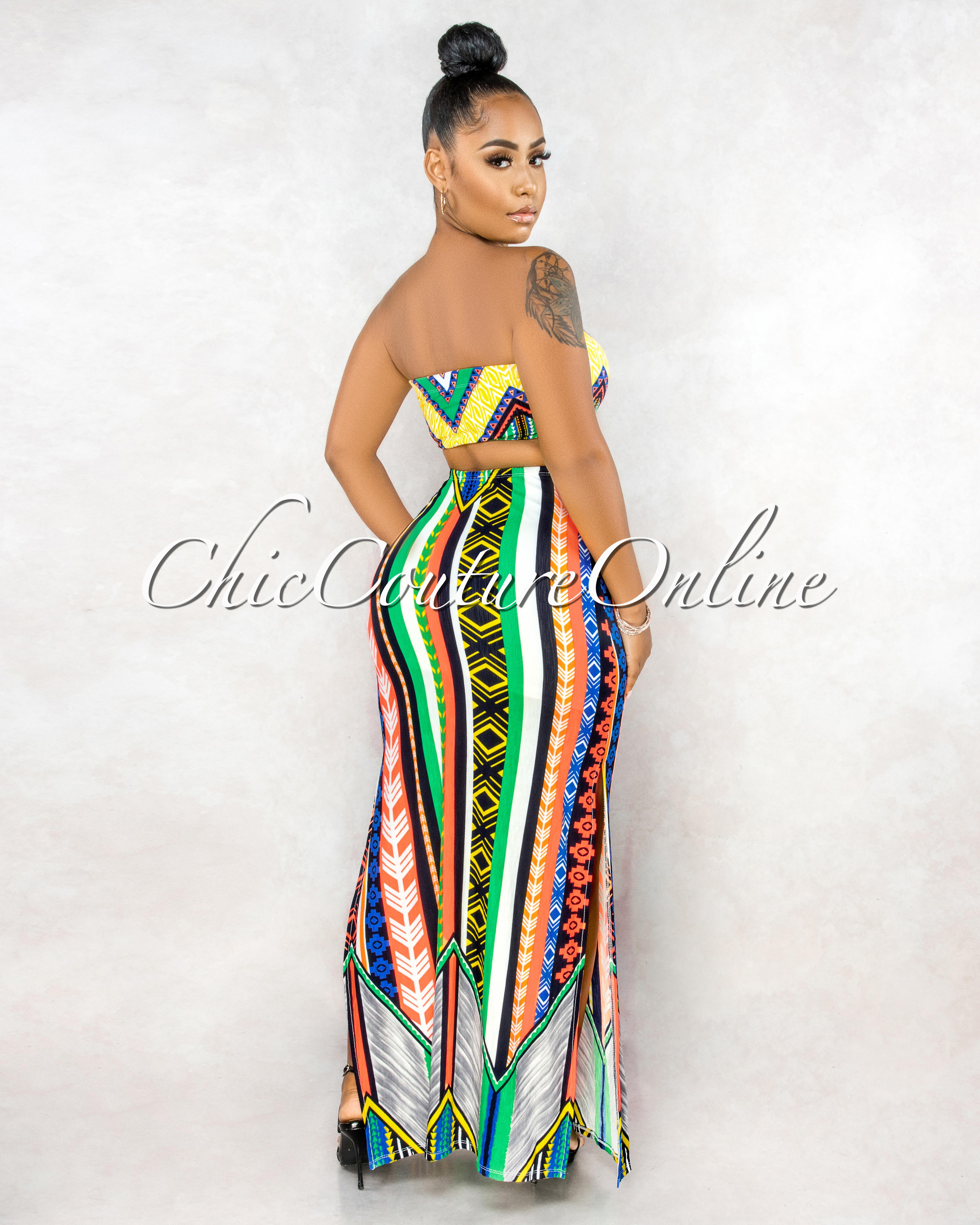 Rianon Green Multi-Neon Colors Aztec Print Maxi Dress