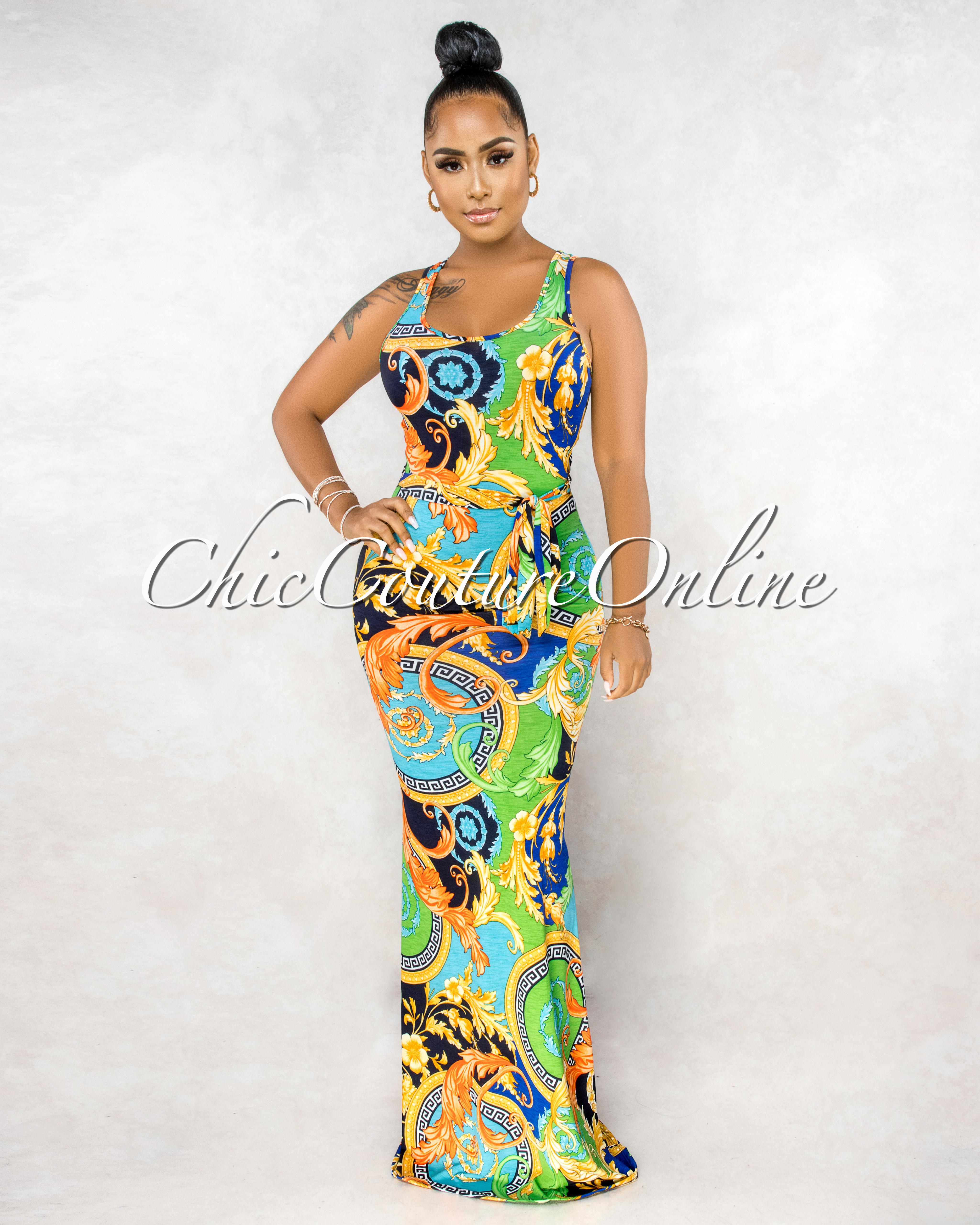 Yordana Green Multi-Color Print Back Key-Hole & Mask Maxi Dress