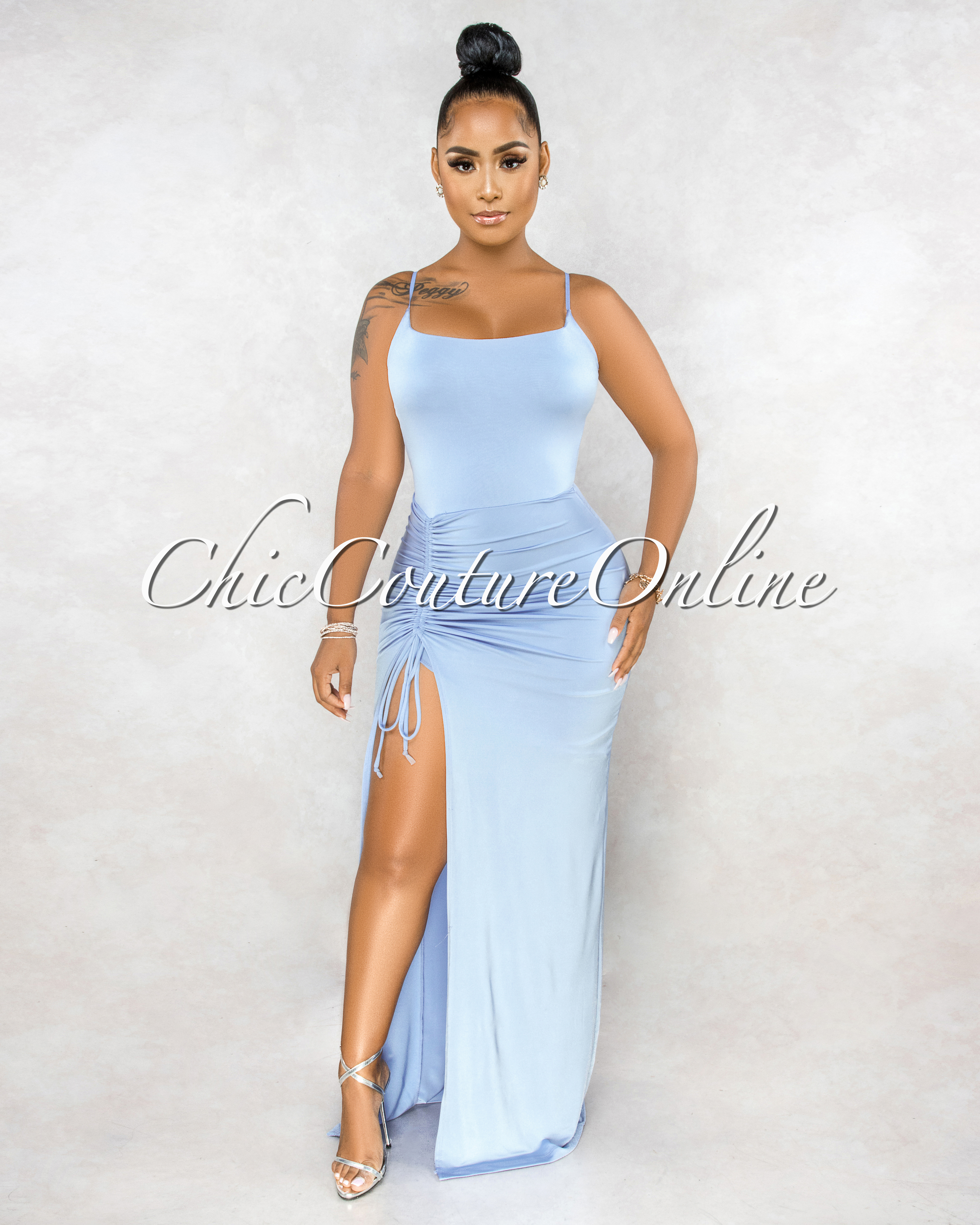 Salina Baby Blue Ruched Side Slit Maxi Dress