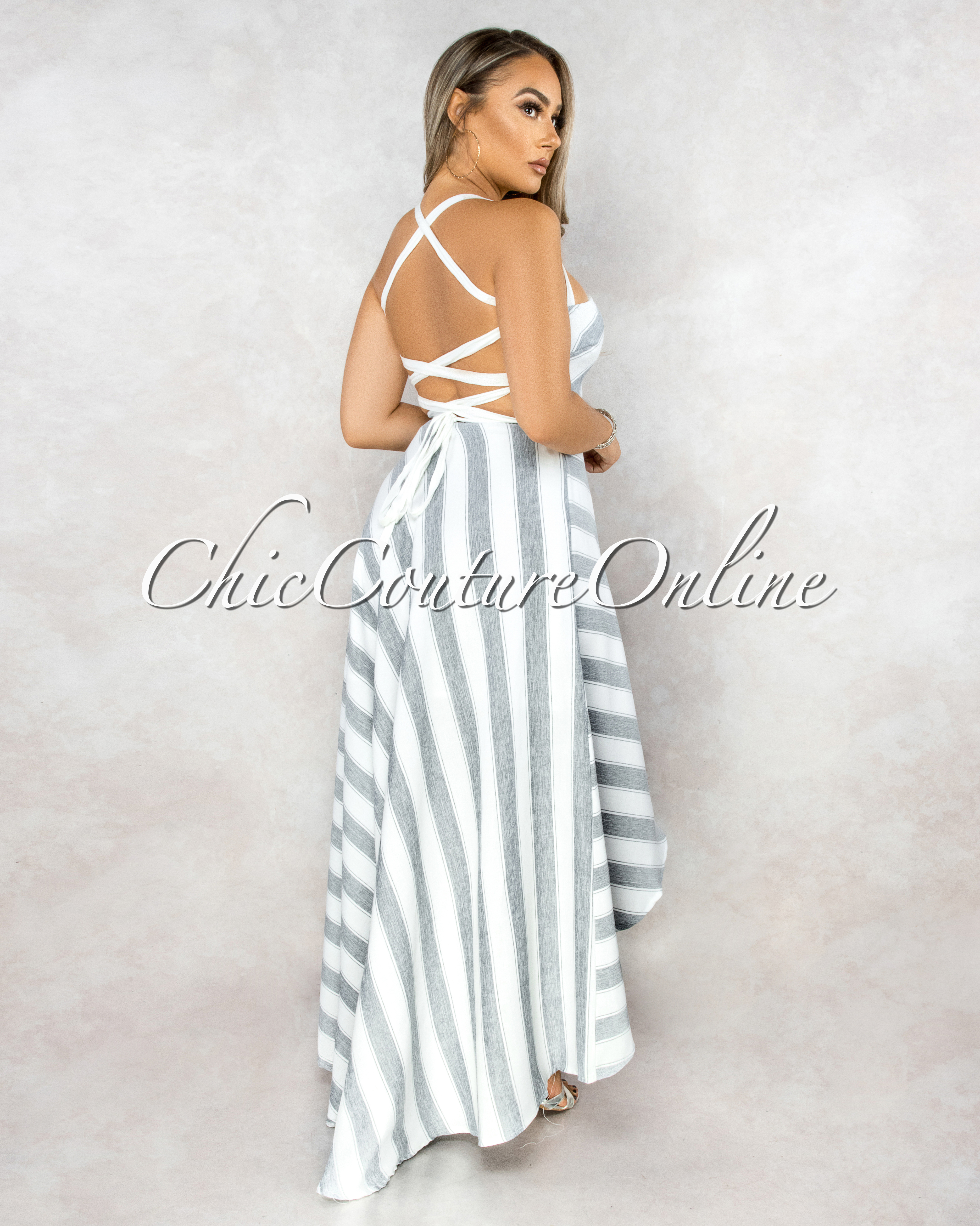 Sunshine White Navy Stripes High Low Lace Up Dress