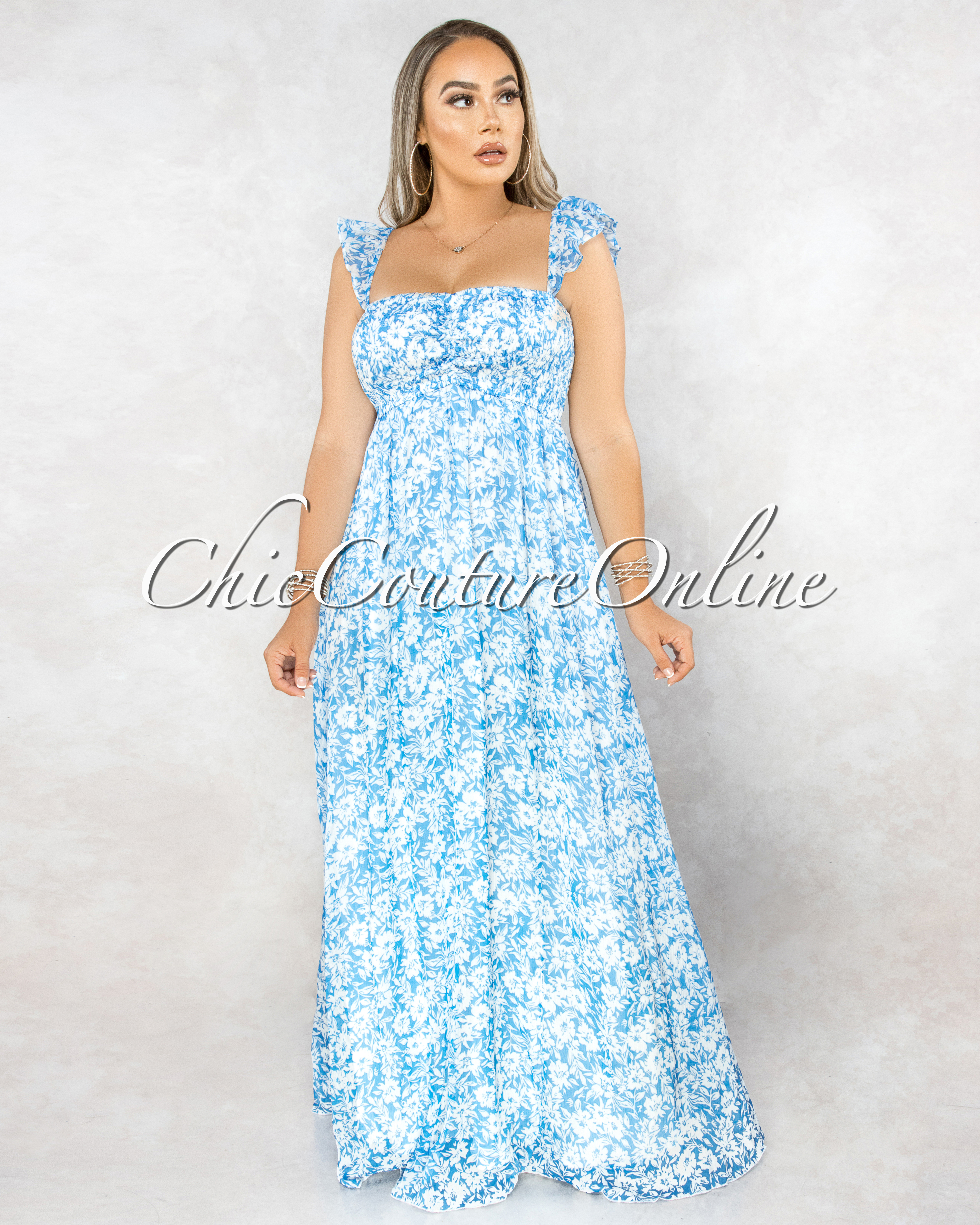 Suffield Blue White Floral Smocked Top Maxi Dress