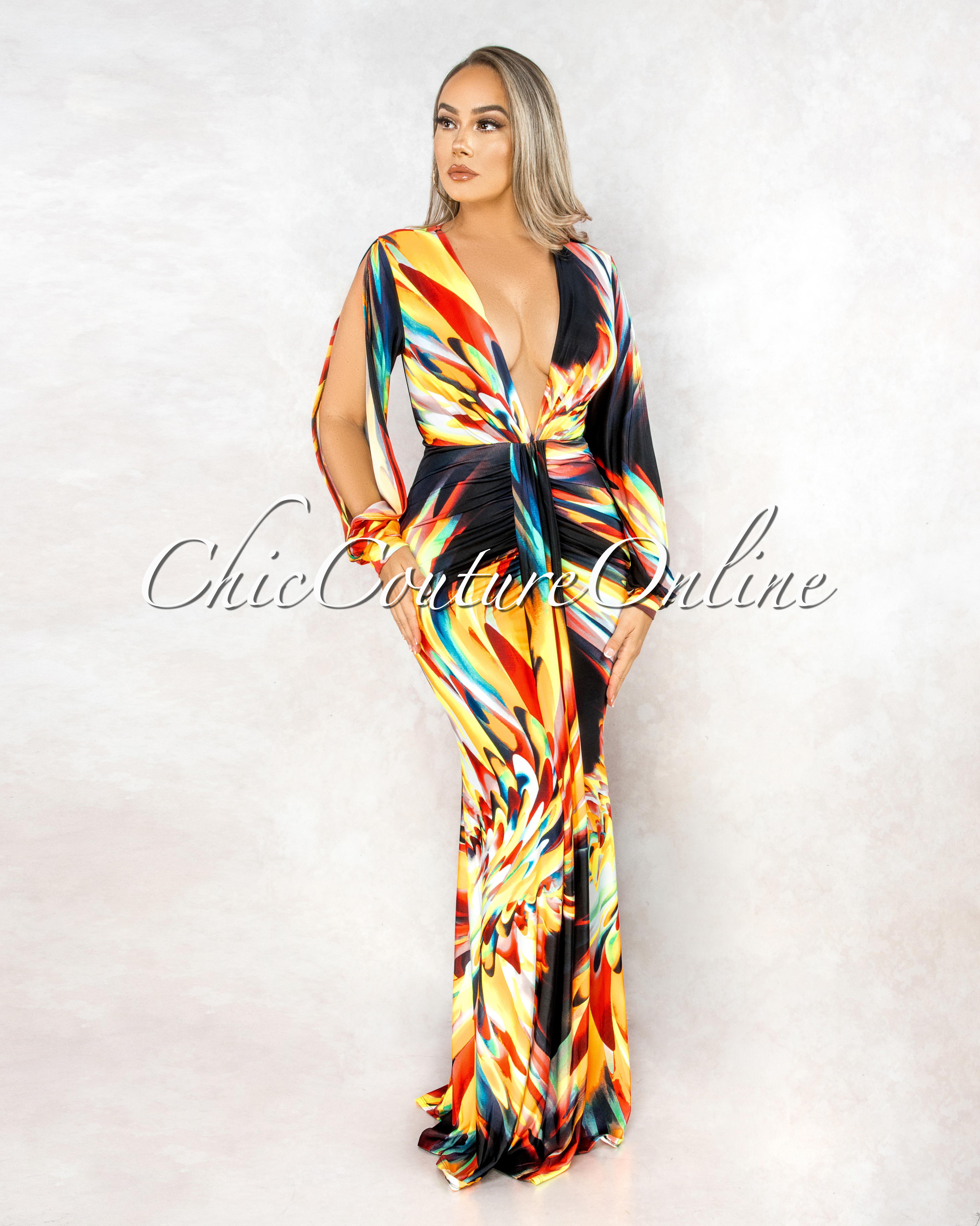 Rafiga Black Multi-Color Print V-Neck Drape Maxi Dress