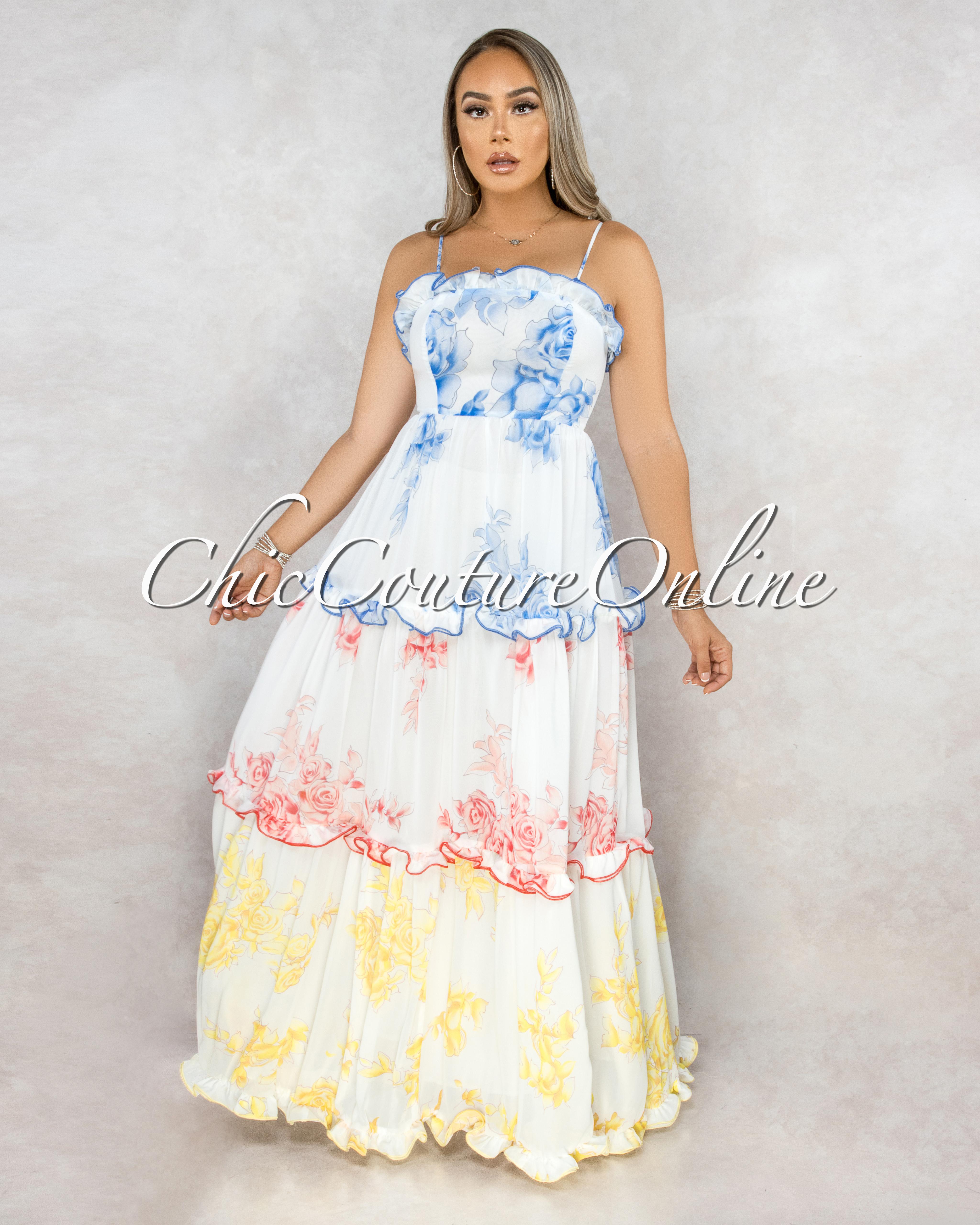 Rimona White Blue Red Yellow Floral Ruffle Tier Maxi Dress