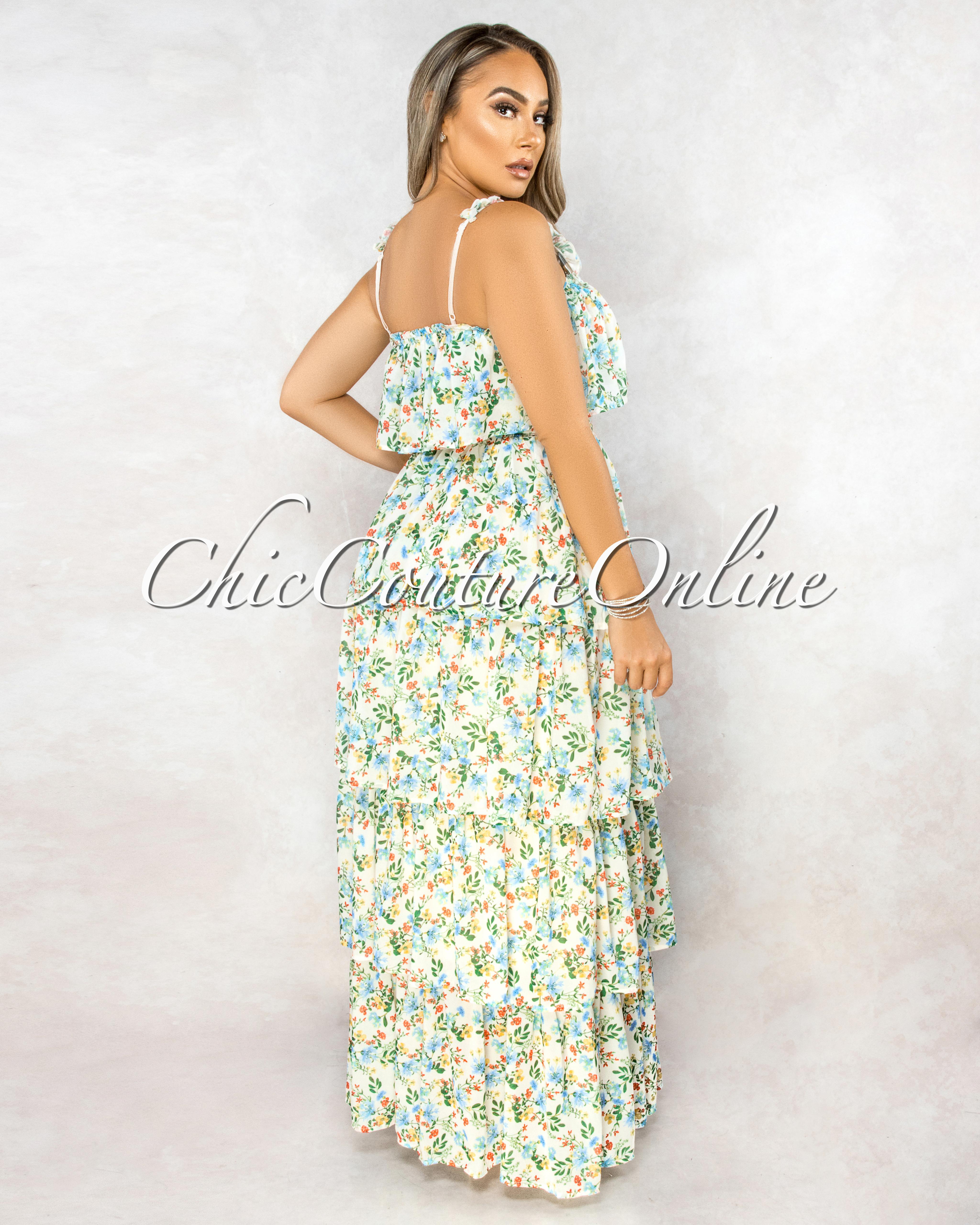 Vimala Ivory Multi-Color Floral Print Ruffle Tier Maxi Dress