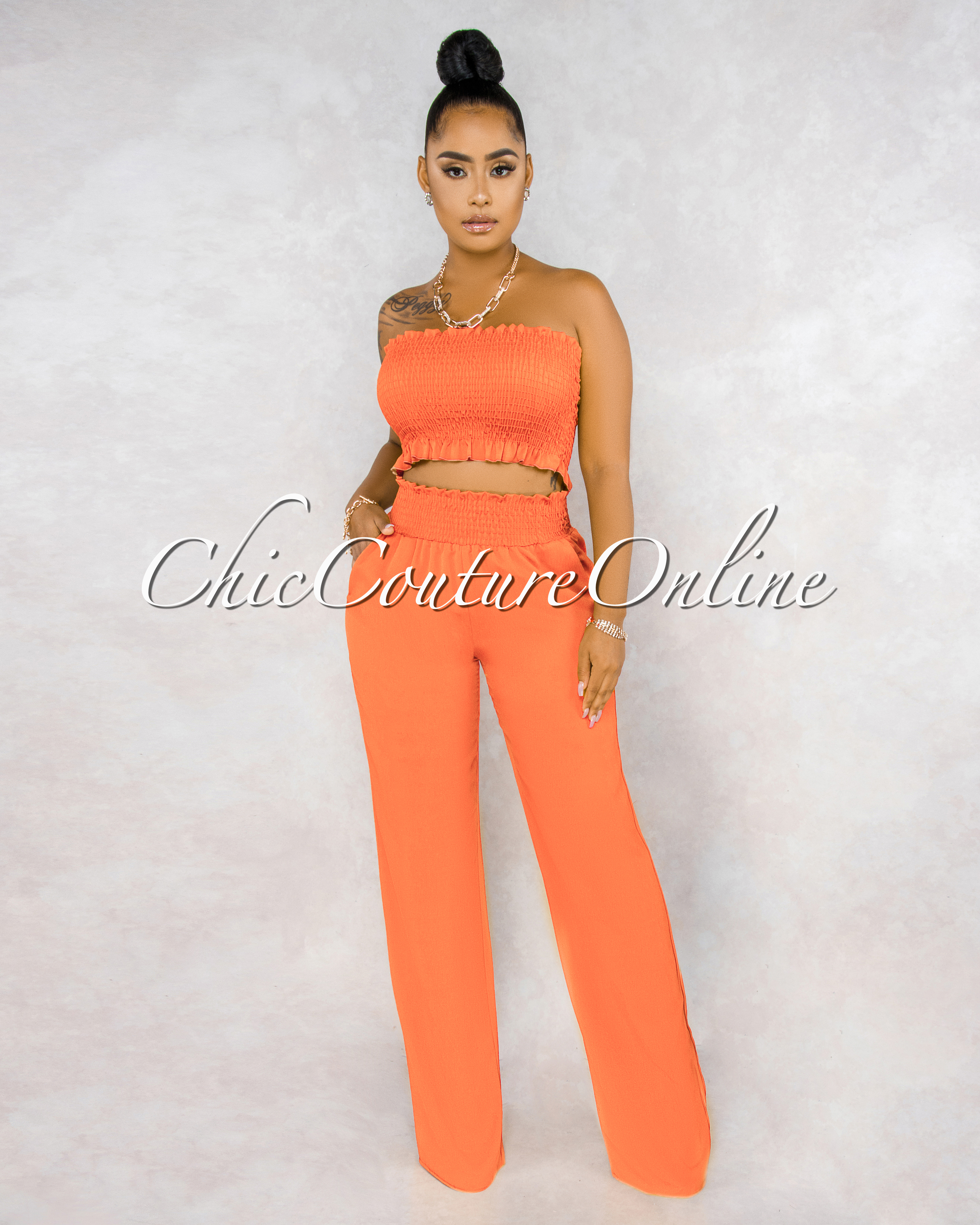Jordany Tangerine Smocked Top Pants Set
