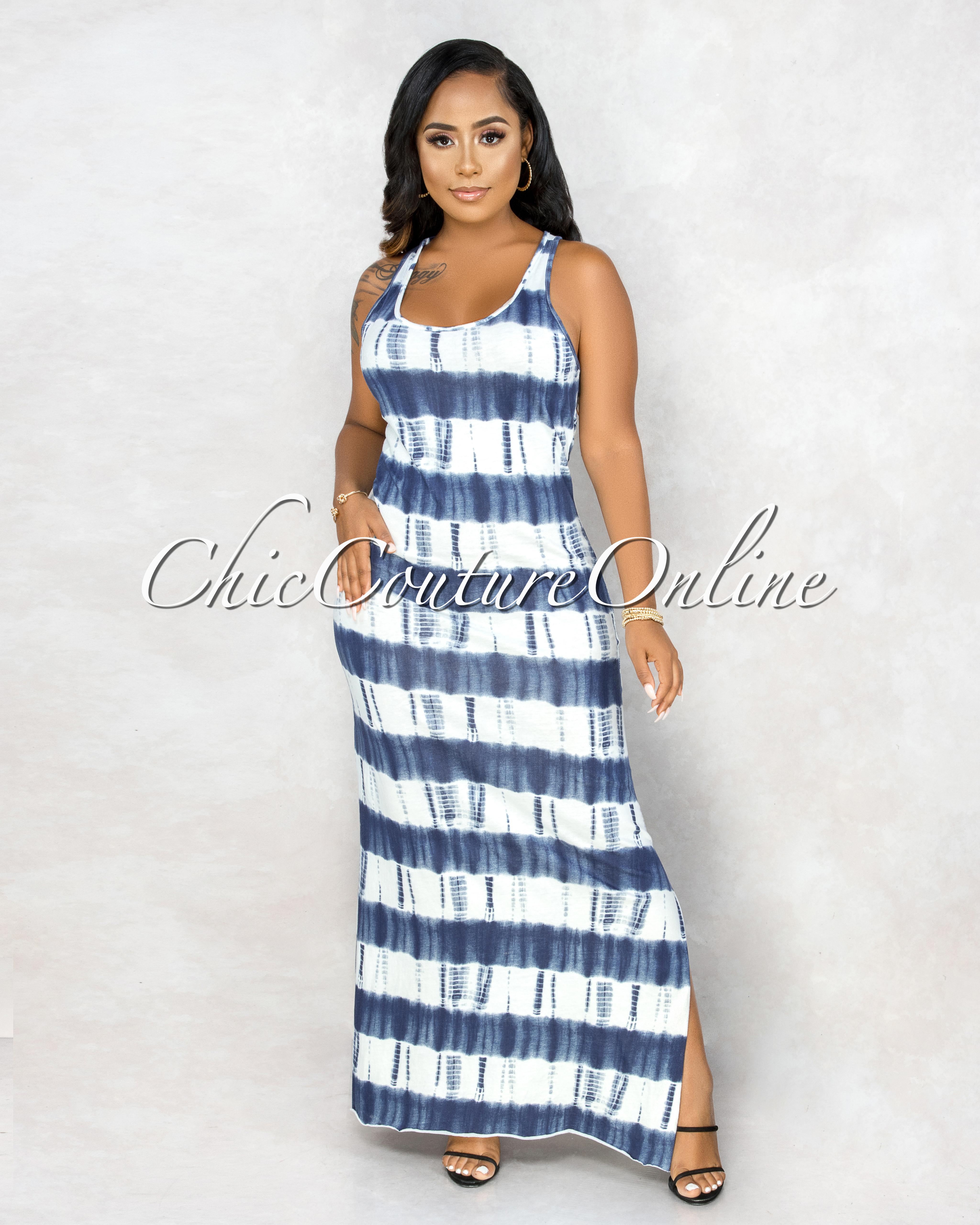 Levitt Dark Blue Tie-Dye Side Slits Maxi Dress