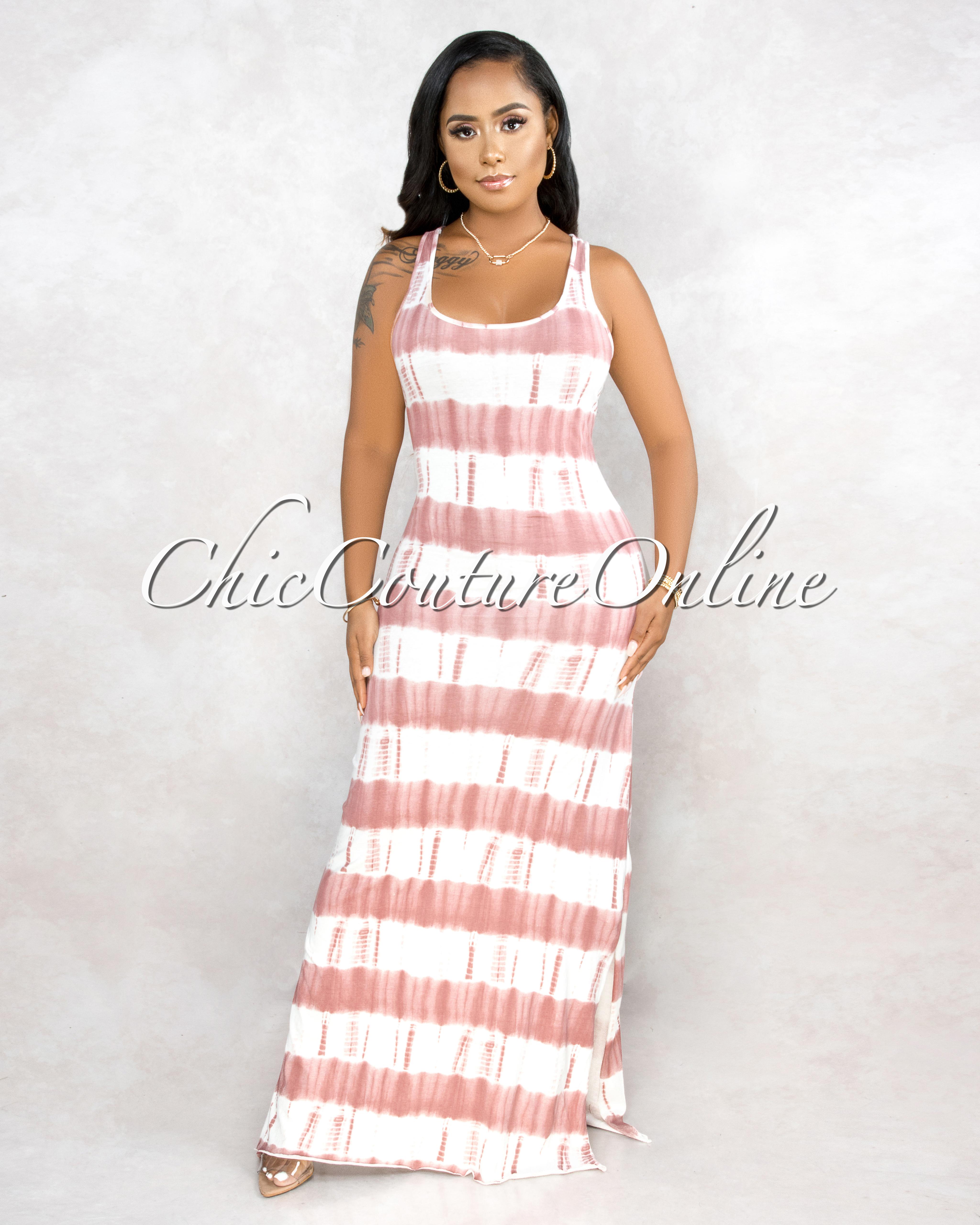 Levitt White Red Tie-Dye Side Slits Maxi Dress