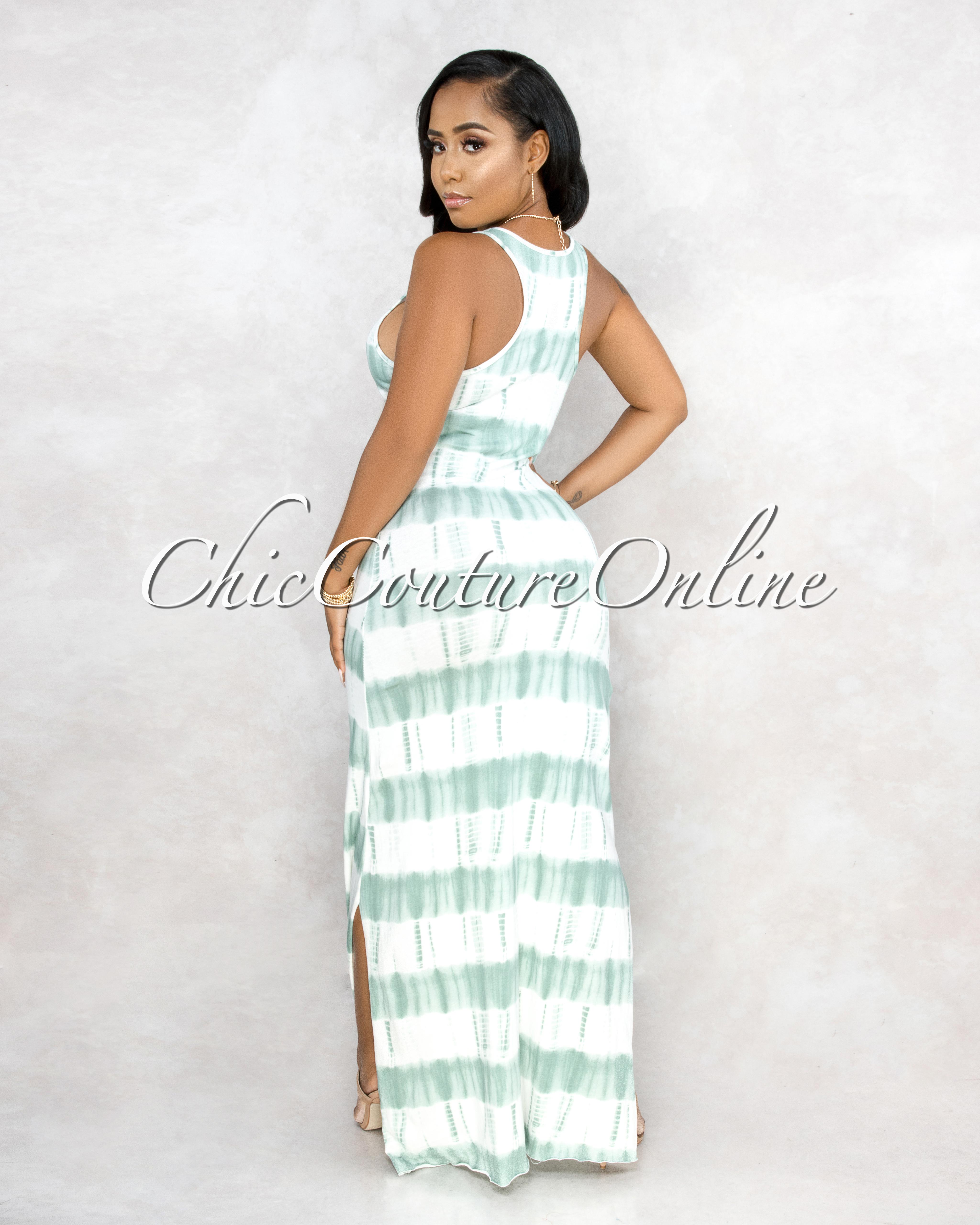 Levitt White Green Tie-Dye Side Slits Maxi Dress