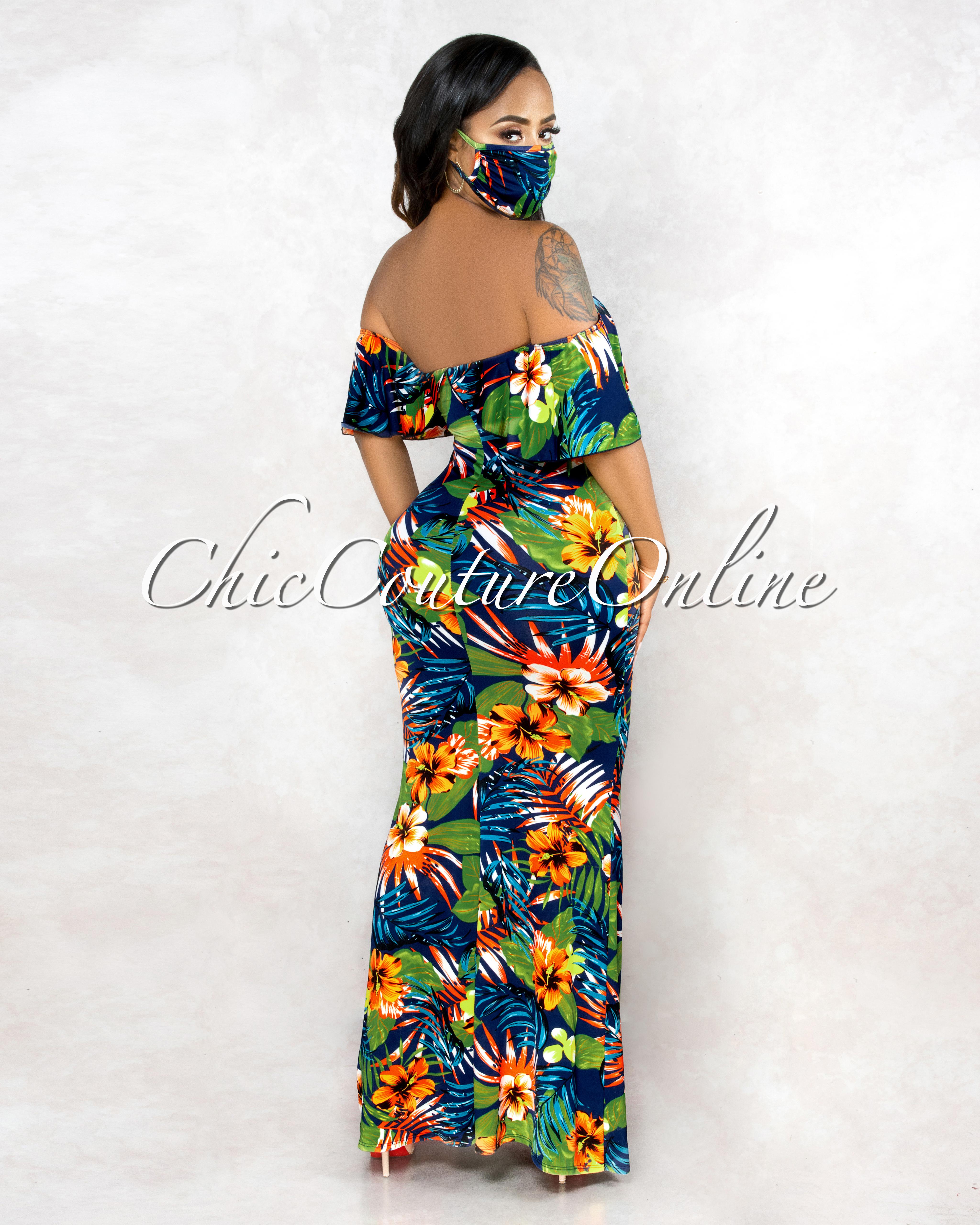 Oliana Navy Blue Multi-Color Print Back Off The Shoulder & Mask Maxi Dress