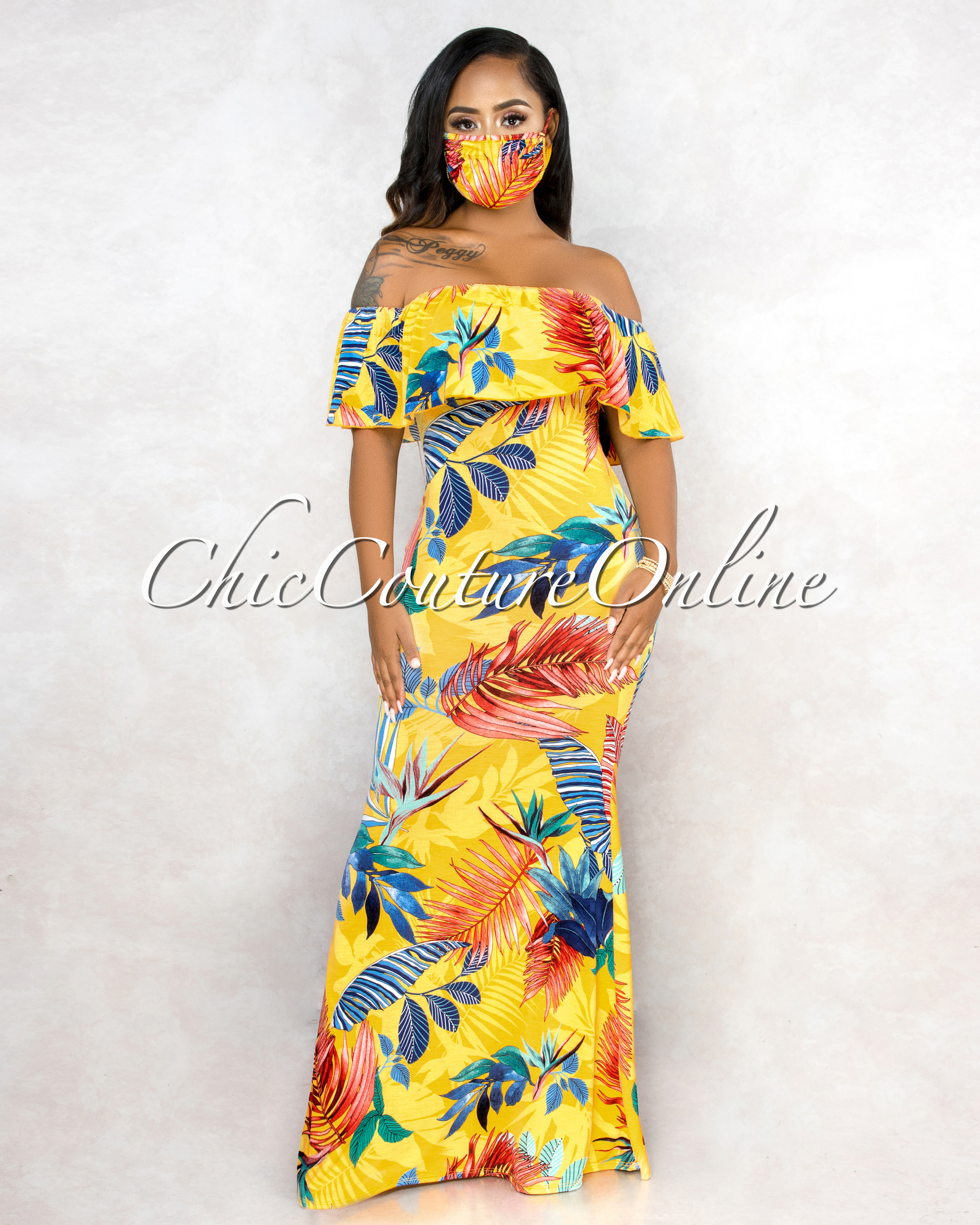 Oliana Yellow Multi-Color Print Back Off The Shoulder & Mask Maxi Dress