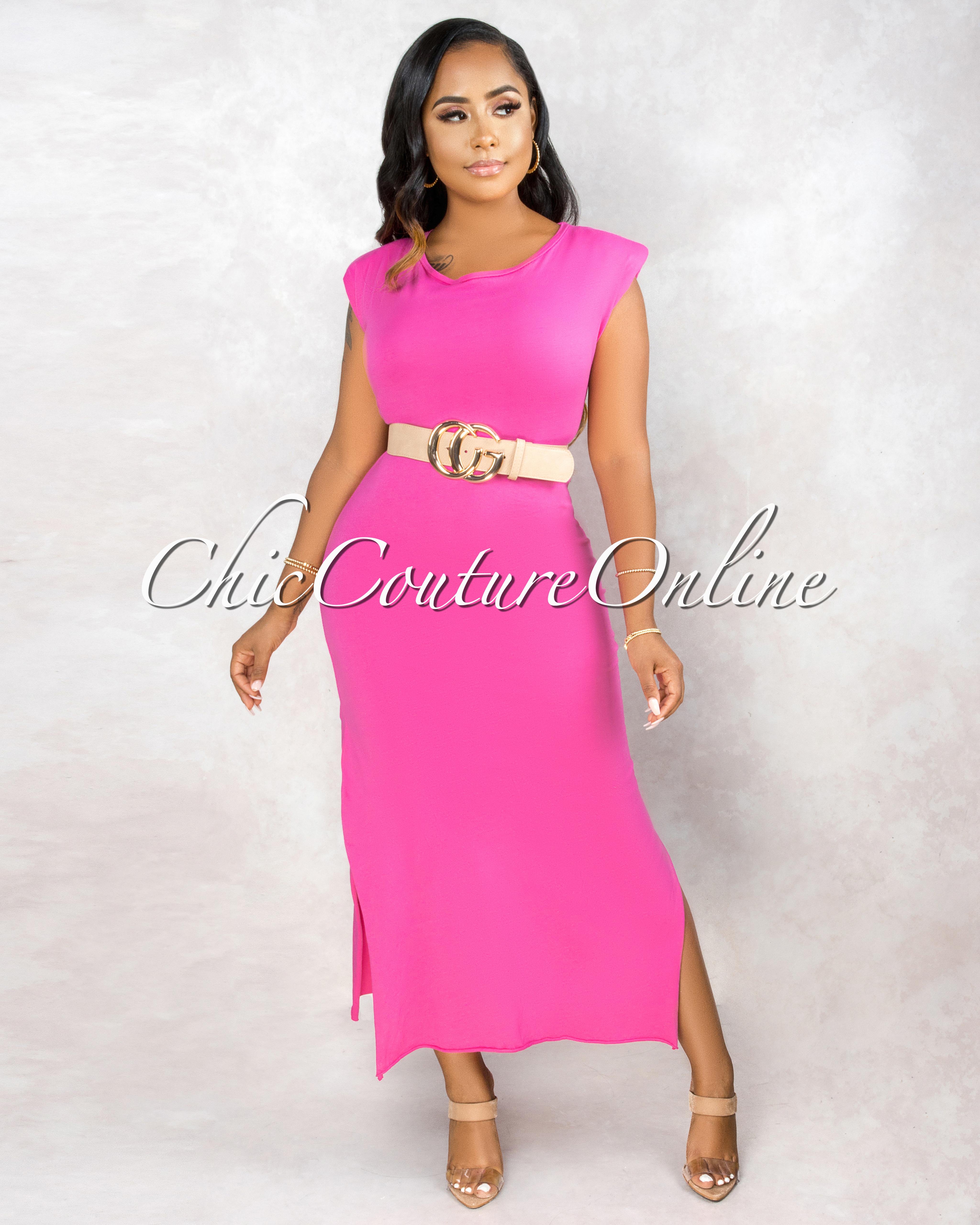 Taini Pink Padded Shoulder & Braided Belt Maxi Dress