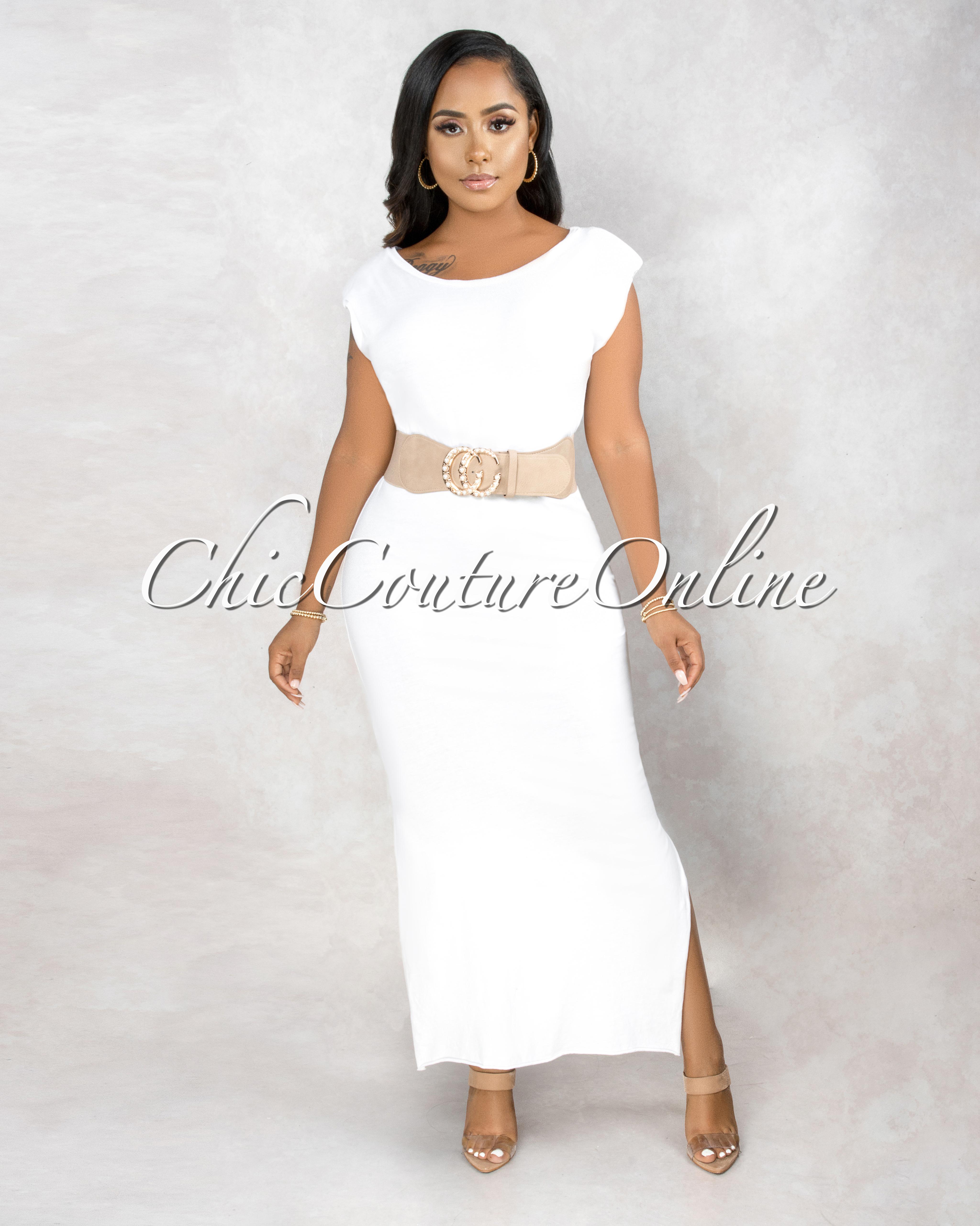 Taini White Padded Shoulder & Braided Belt Maxi Dress
