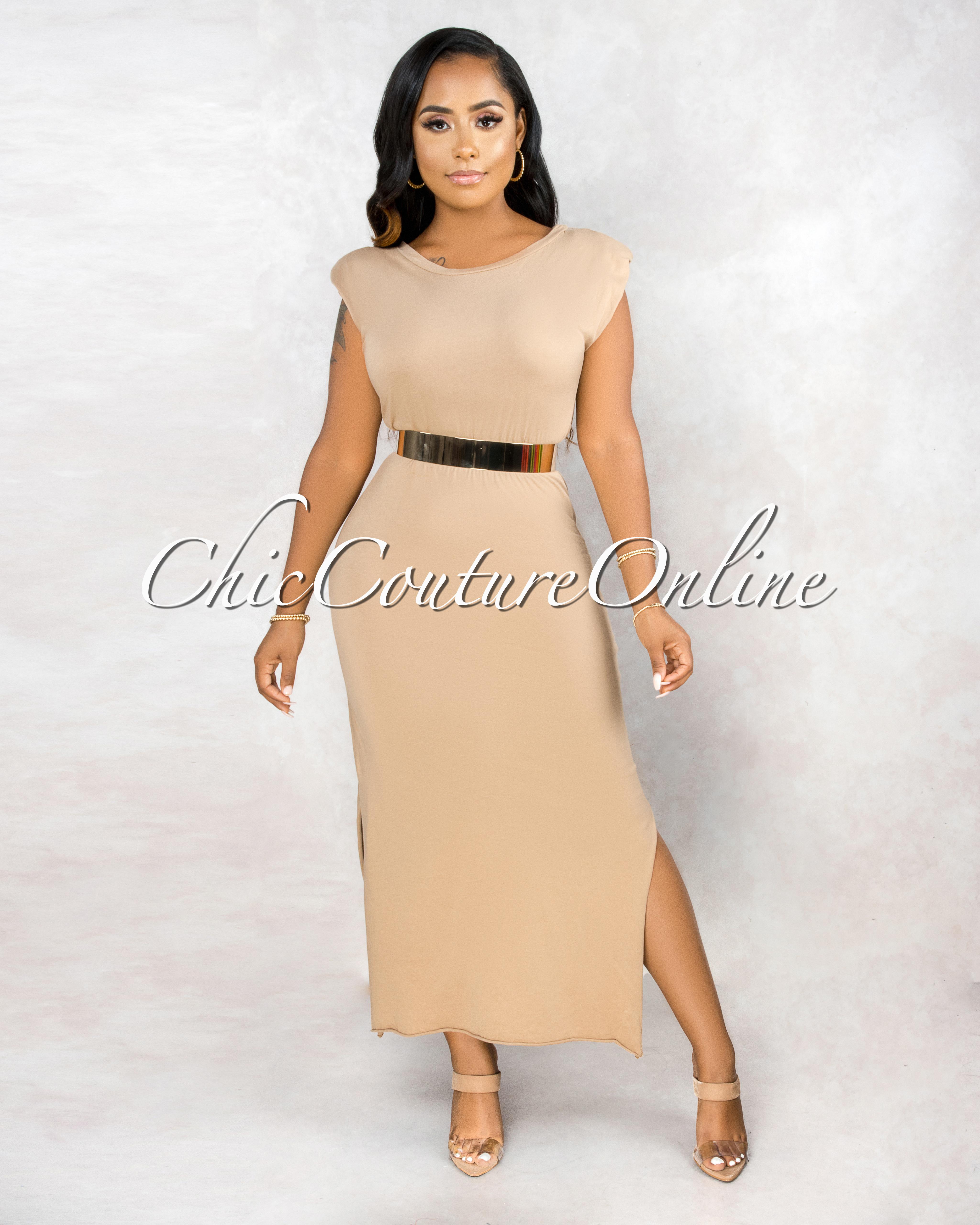 Taini Tan Padded Shoulder & Braided Belt Maxi Dress