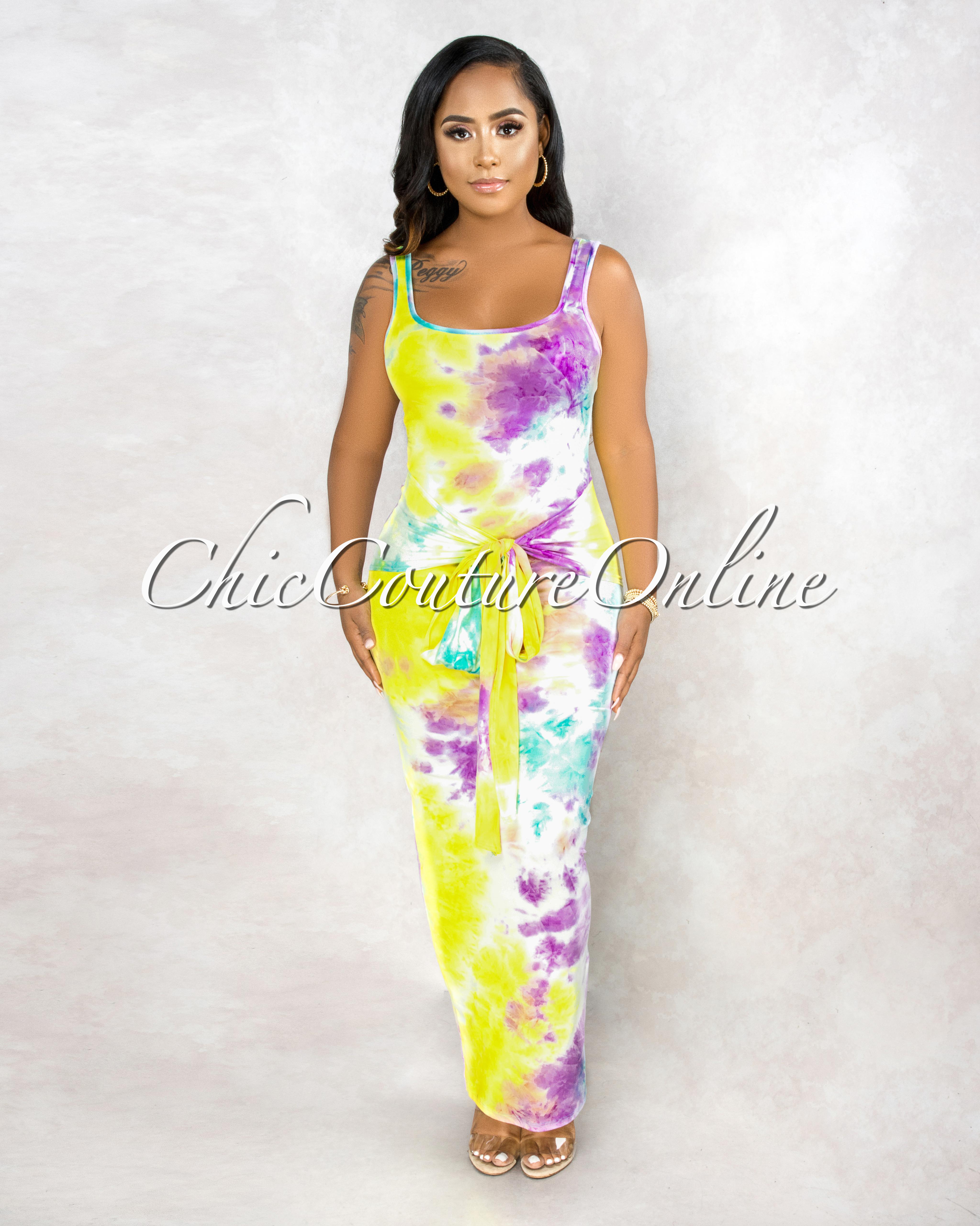 Niobe Neon Yellow Purple Tie Dye Front Knot Maxi Dress