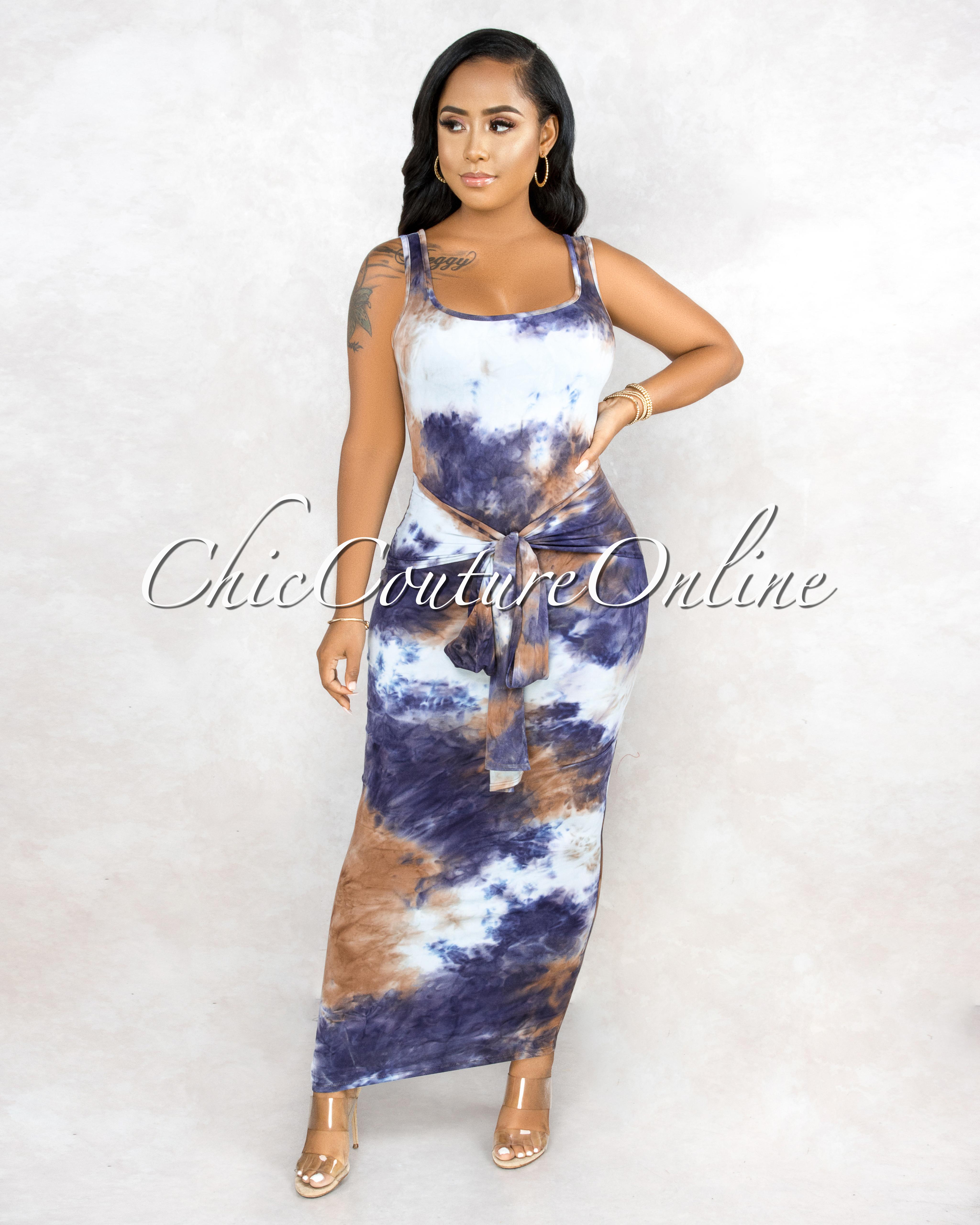 Niobe Blue/Tan Tie Dye Front Knot Maxi Dress