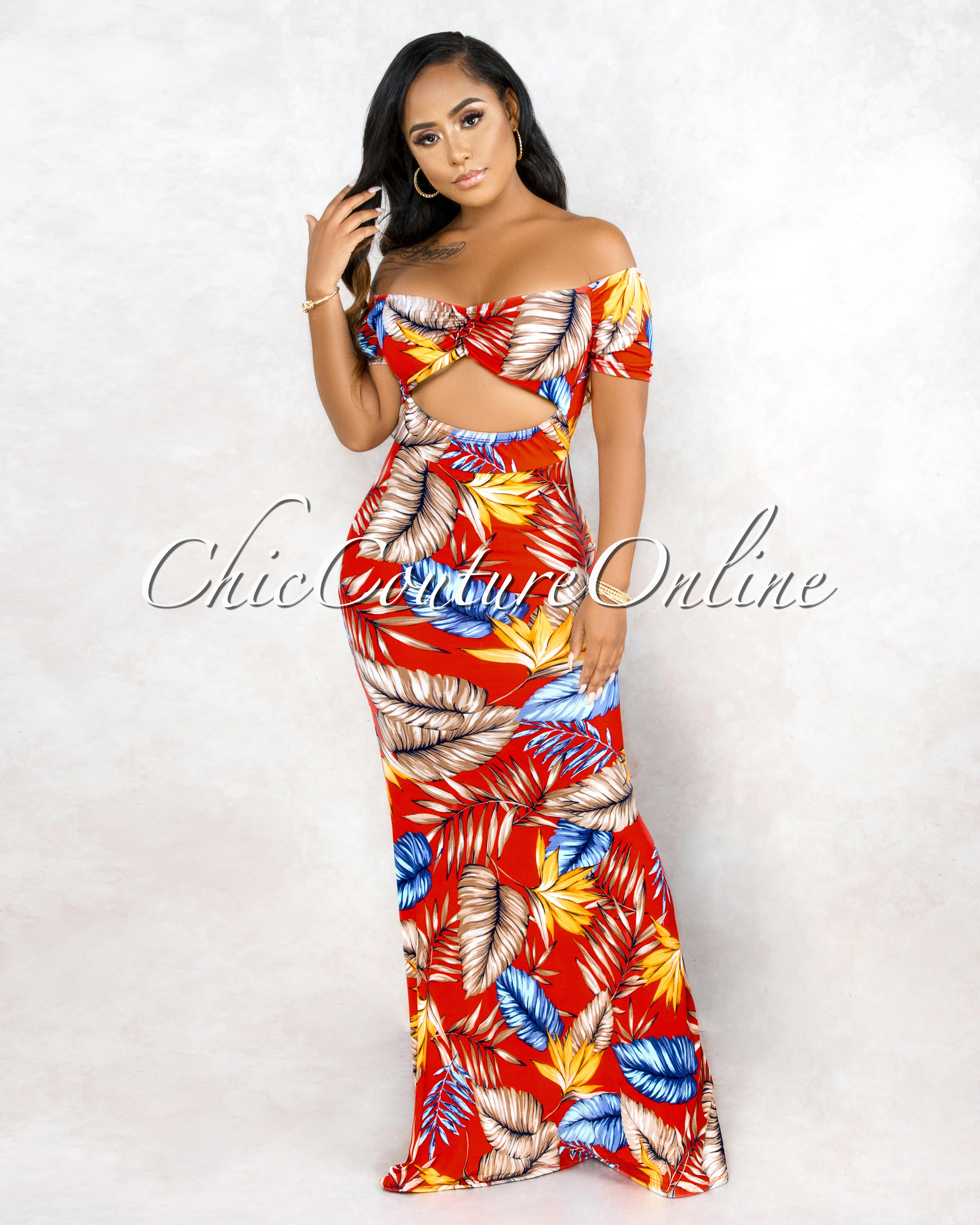 Lakota Red Floral Print Off The Shoulder Maxi Dress