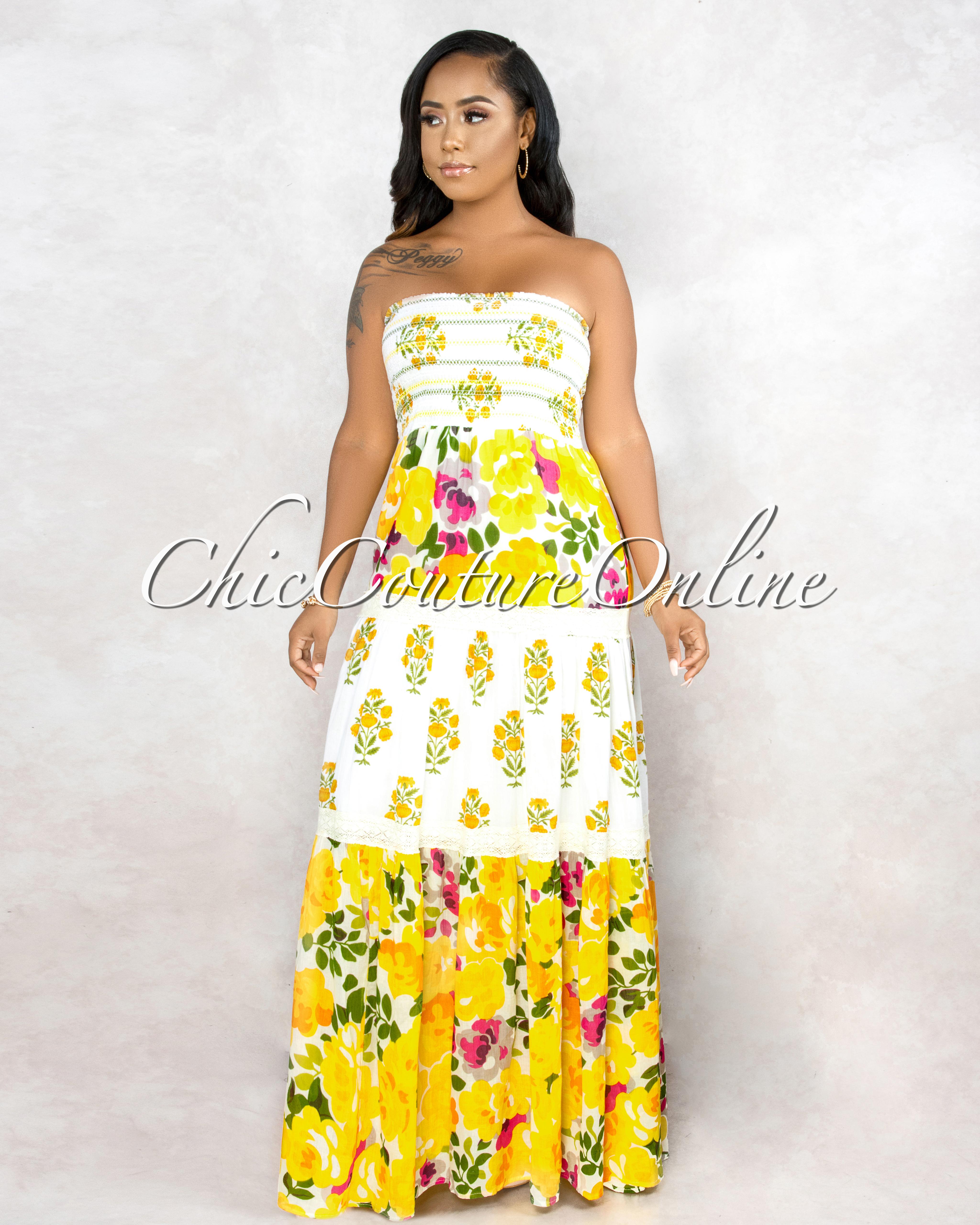 Jorah Yellow Printed Smoked Maxi Dress