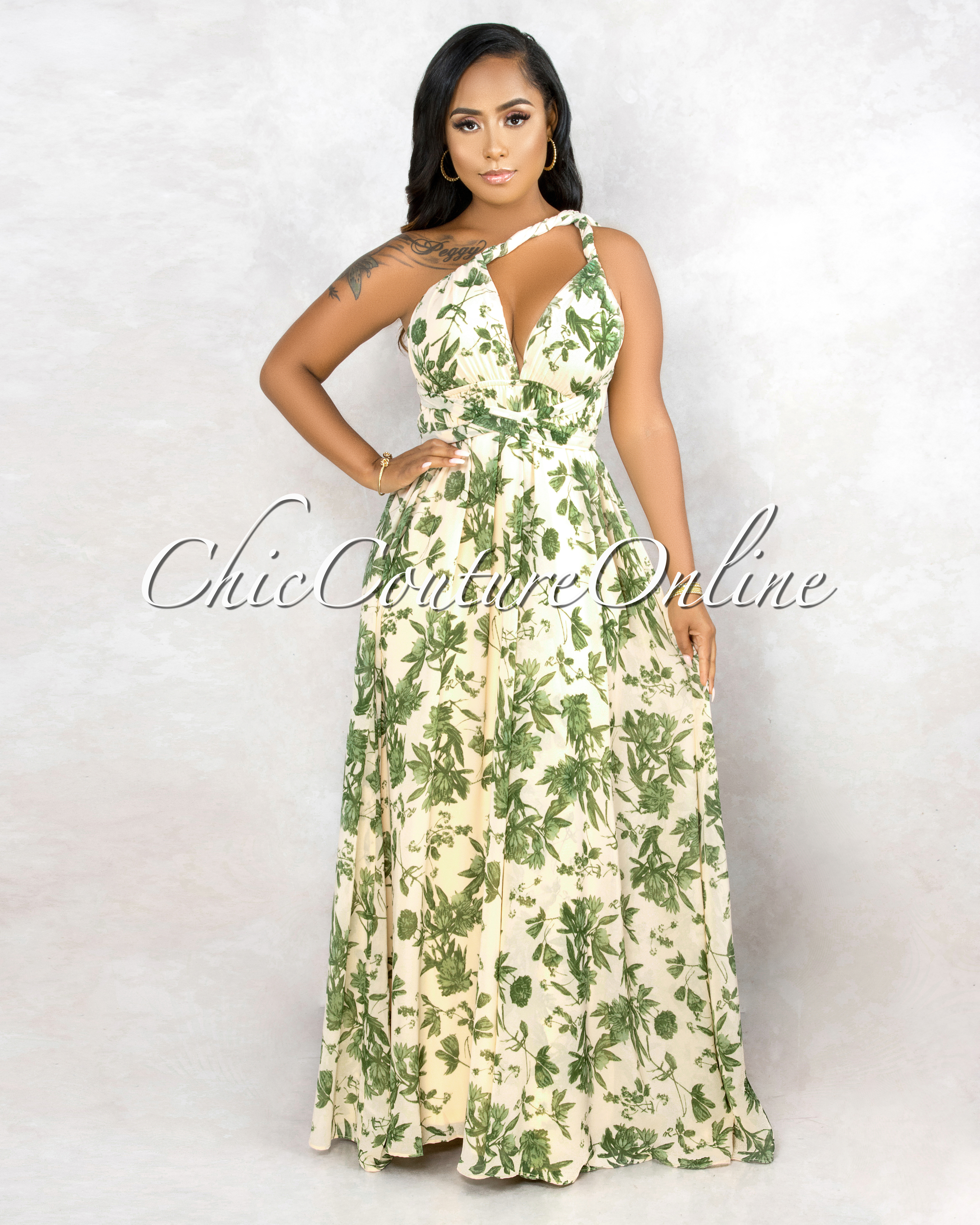 Yadra Beige Green Floral Print Multi-Way Maxi Dress