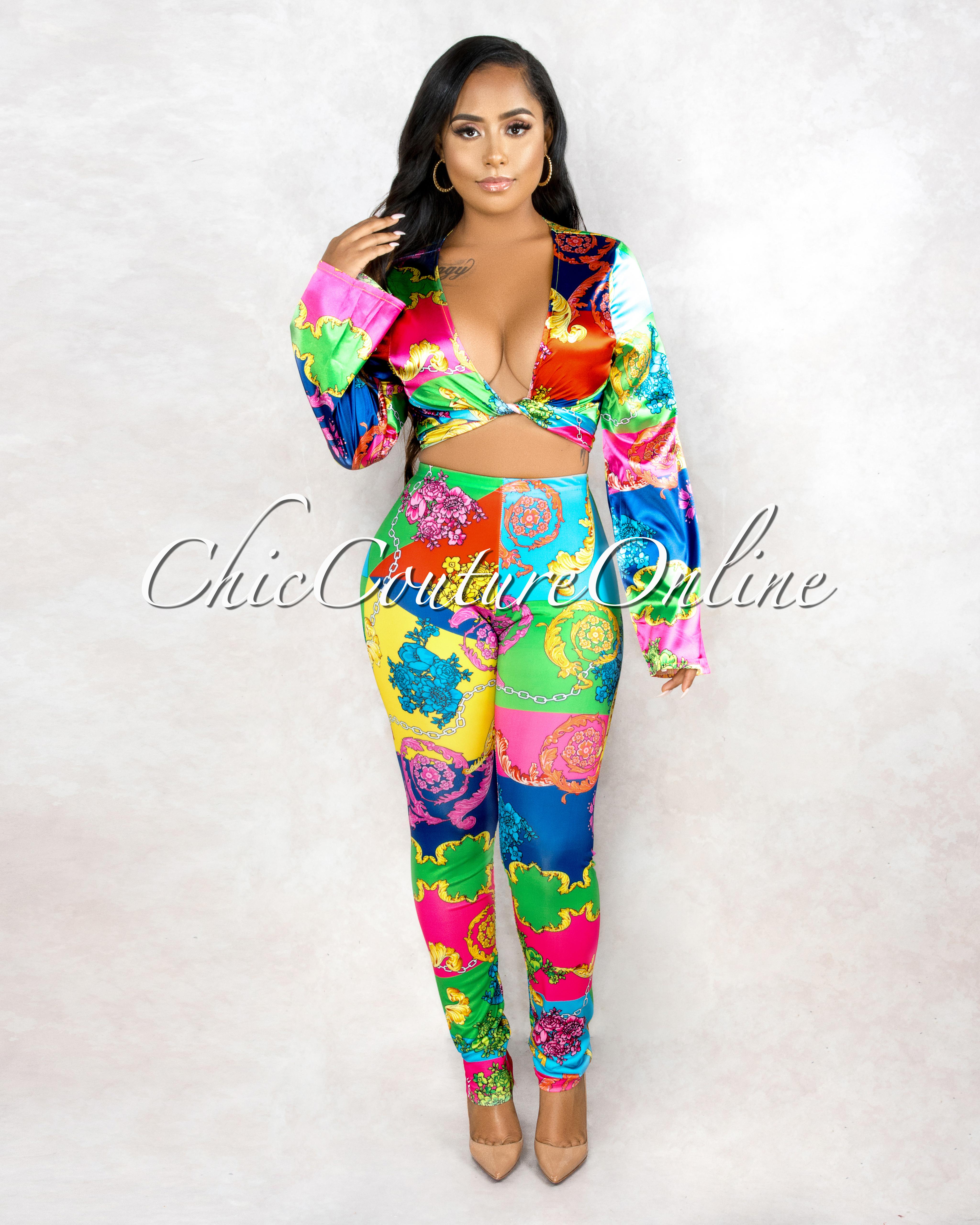 Taipa Multi Color Floral Print Oversized Front Knot Shirt & Leggings Set