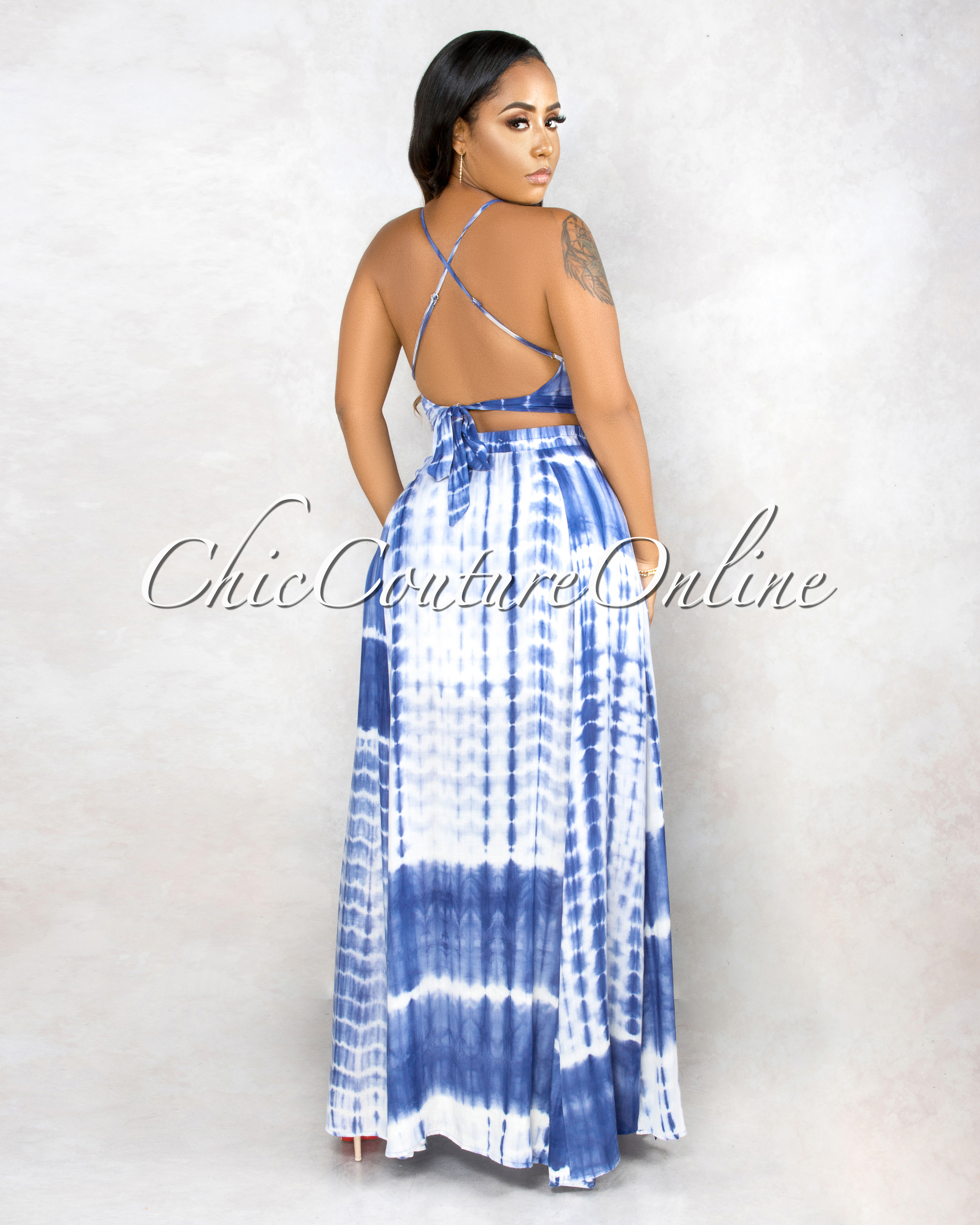 Yelena Blue Tie Dye Crop Top & Maxi Skirt Set