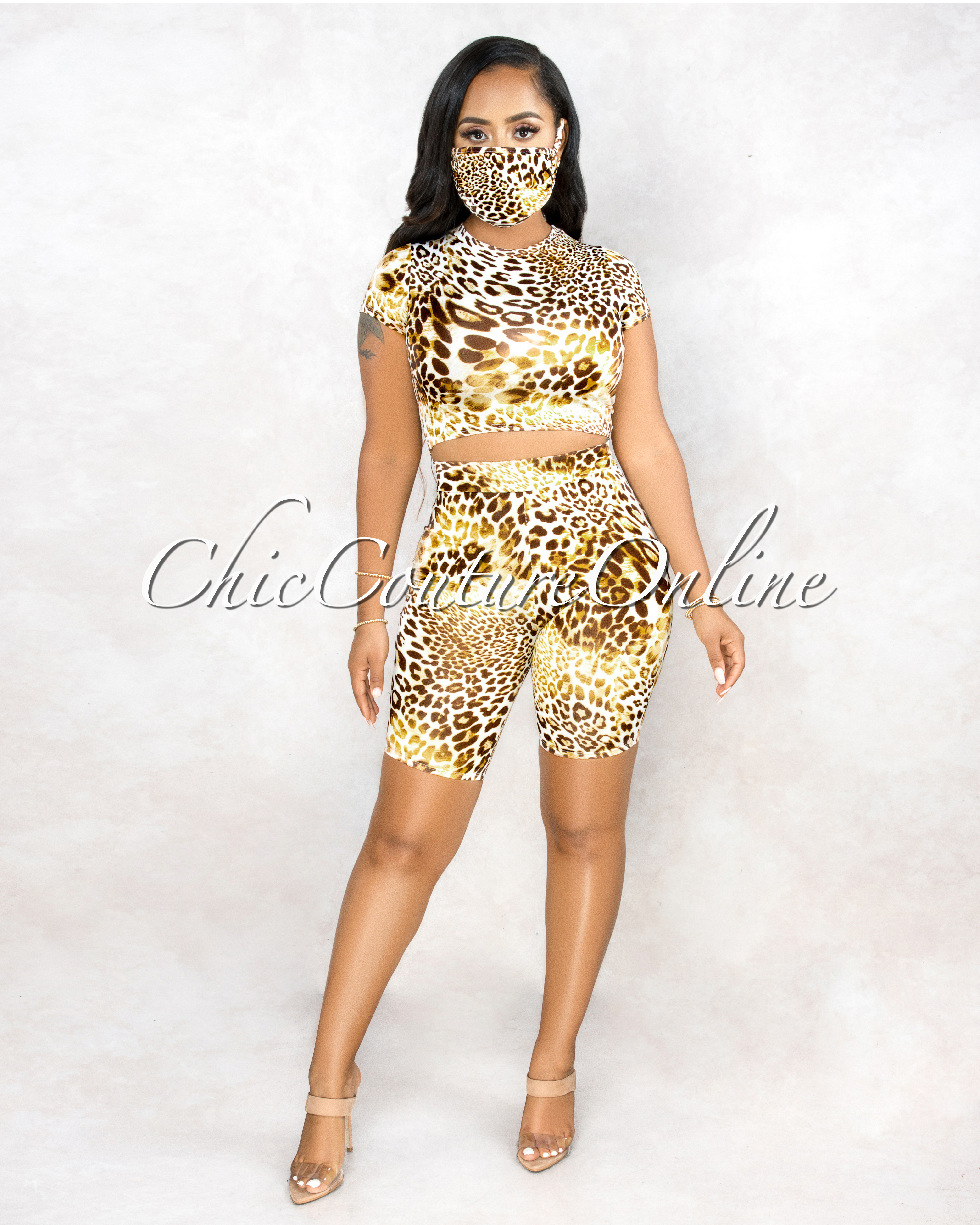 Fitch Leopard Print Tie-Dye Matching Mask Three Piece Set