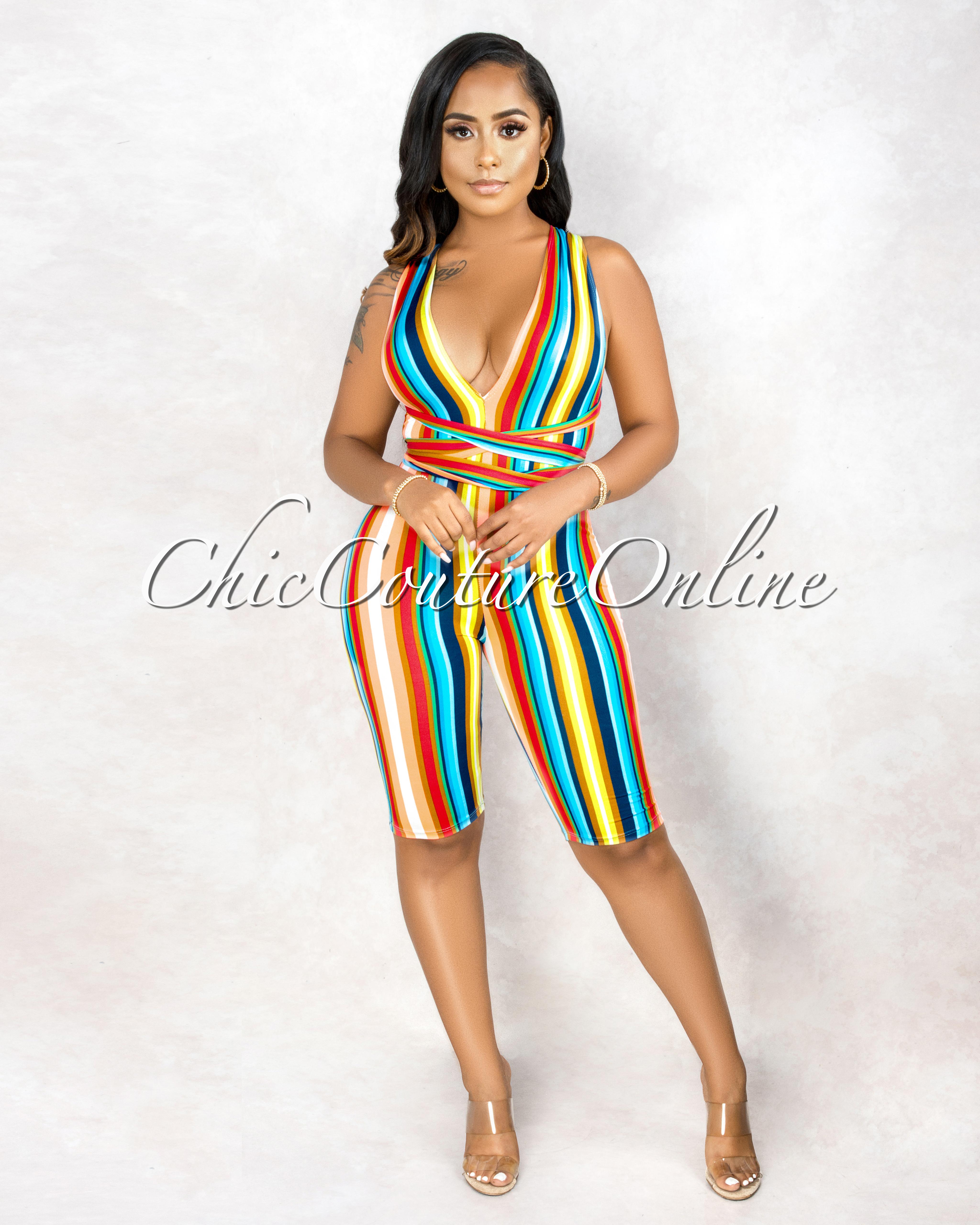 Kizzy Multi Color Stripes Halter Neck Romper
