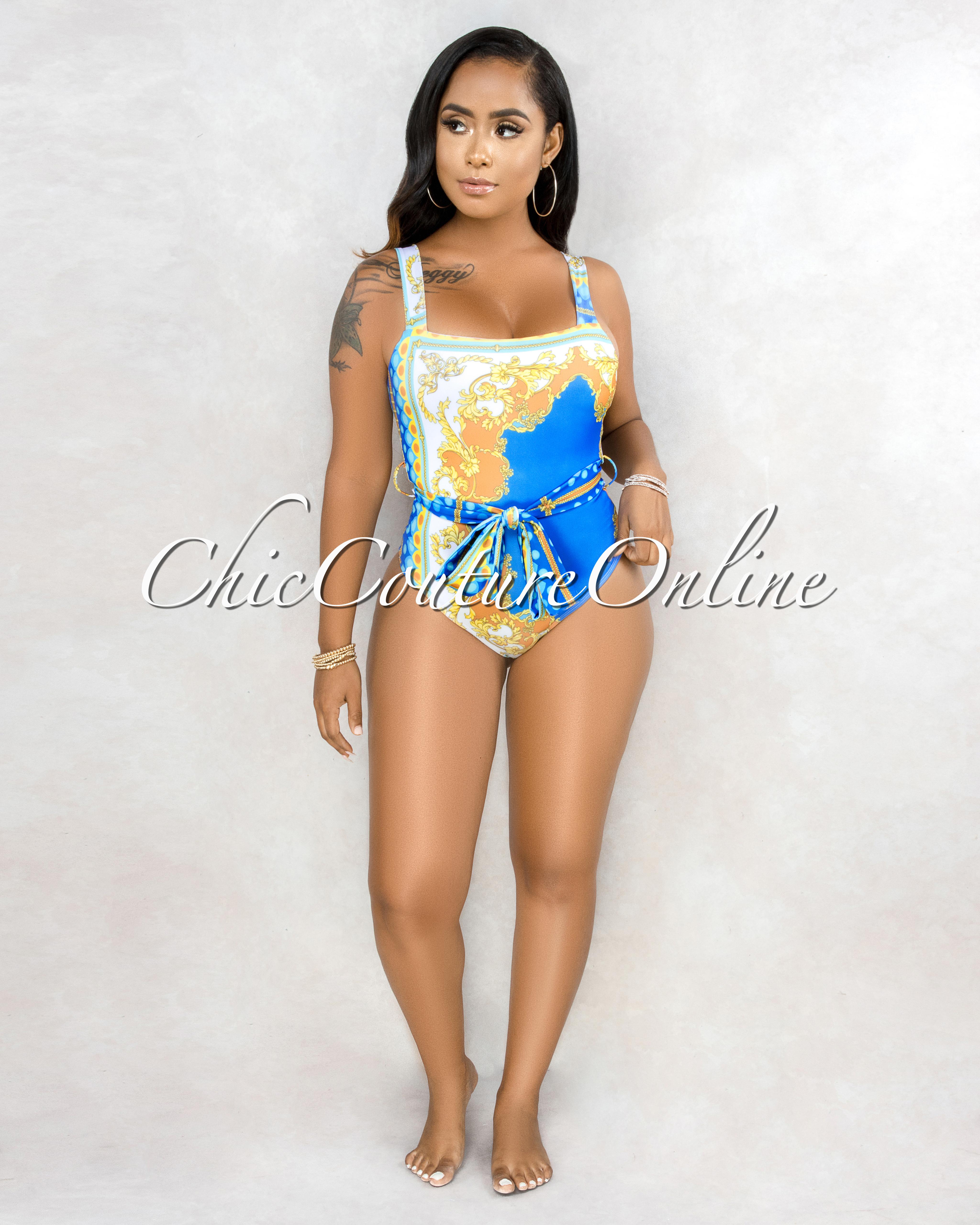 Olina Blue Yellow Print  Swimsuit Set