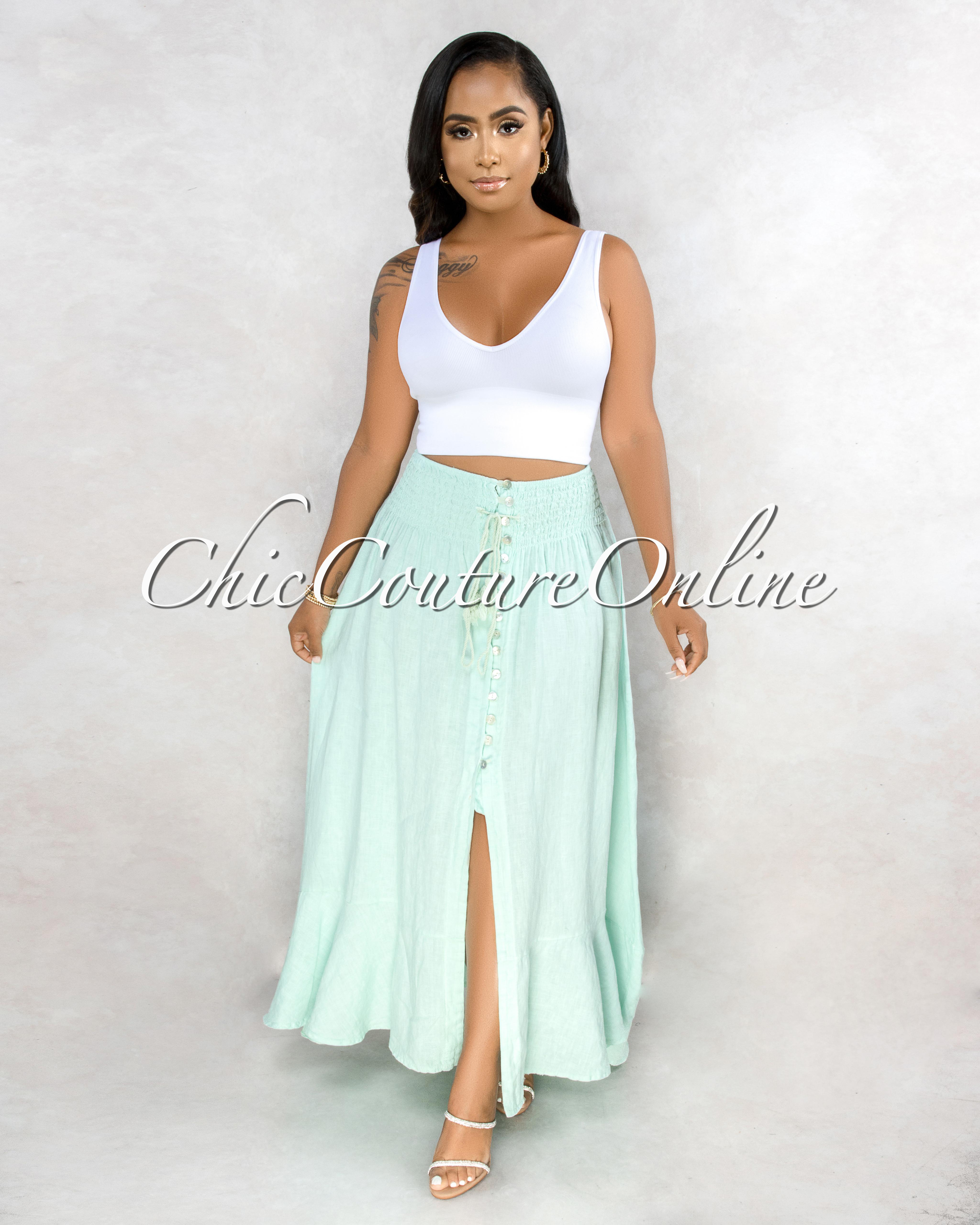 Torres Mint Buttons Slit Maxi LINEN Skirt