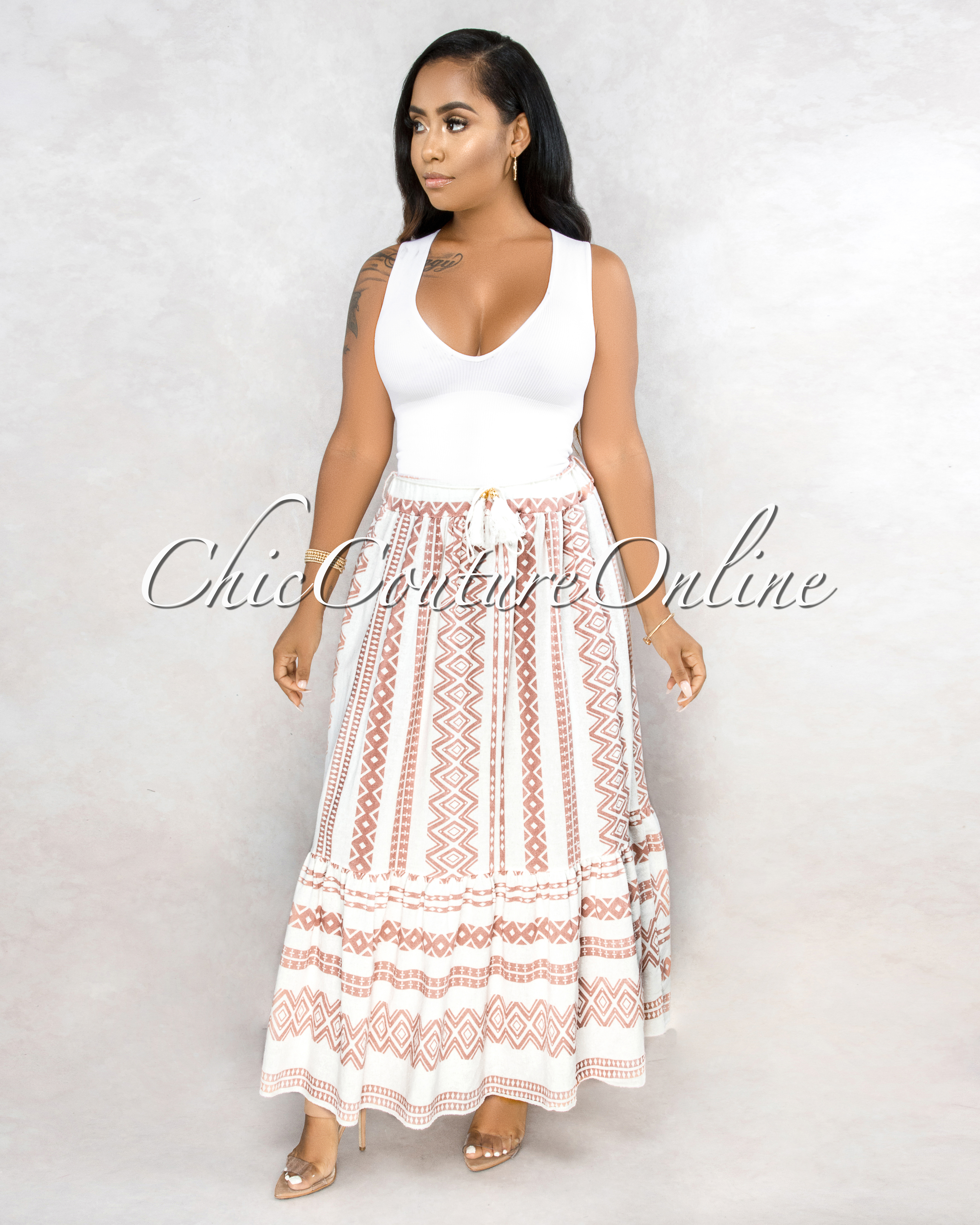 Warda Off-White Blush Aztec Print Maxi Skirt