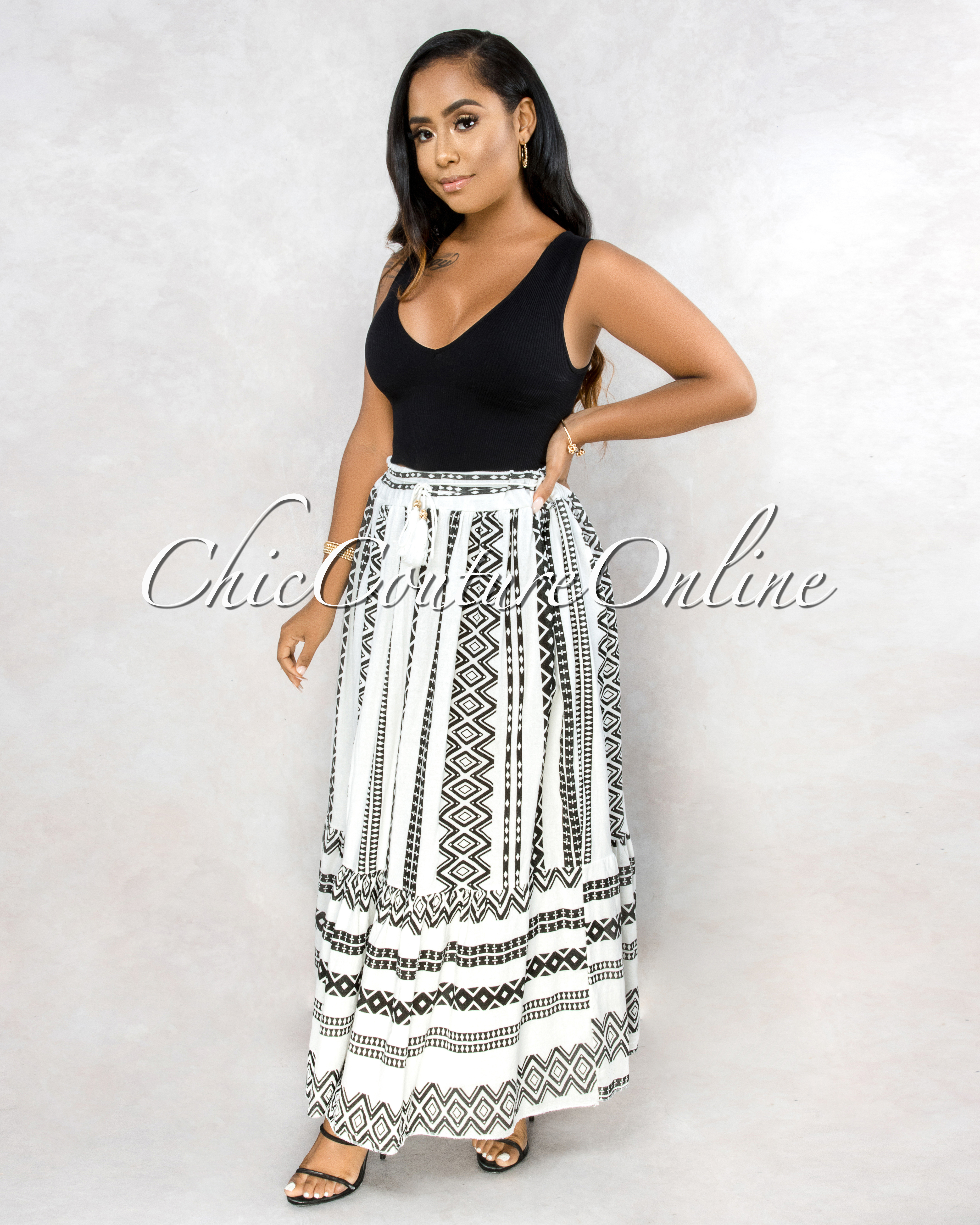 Warda Off-White Black Aztec Print Maxi Skirt