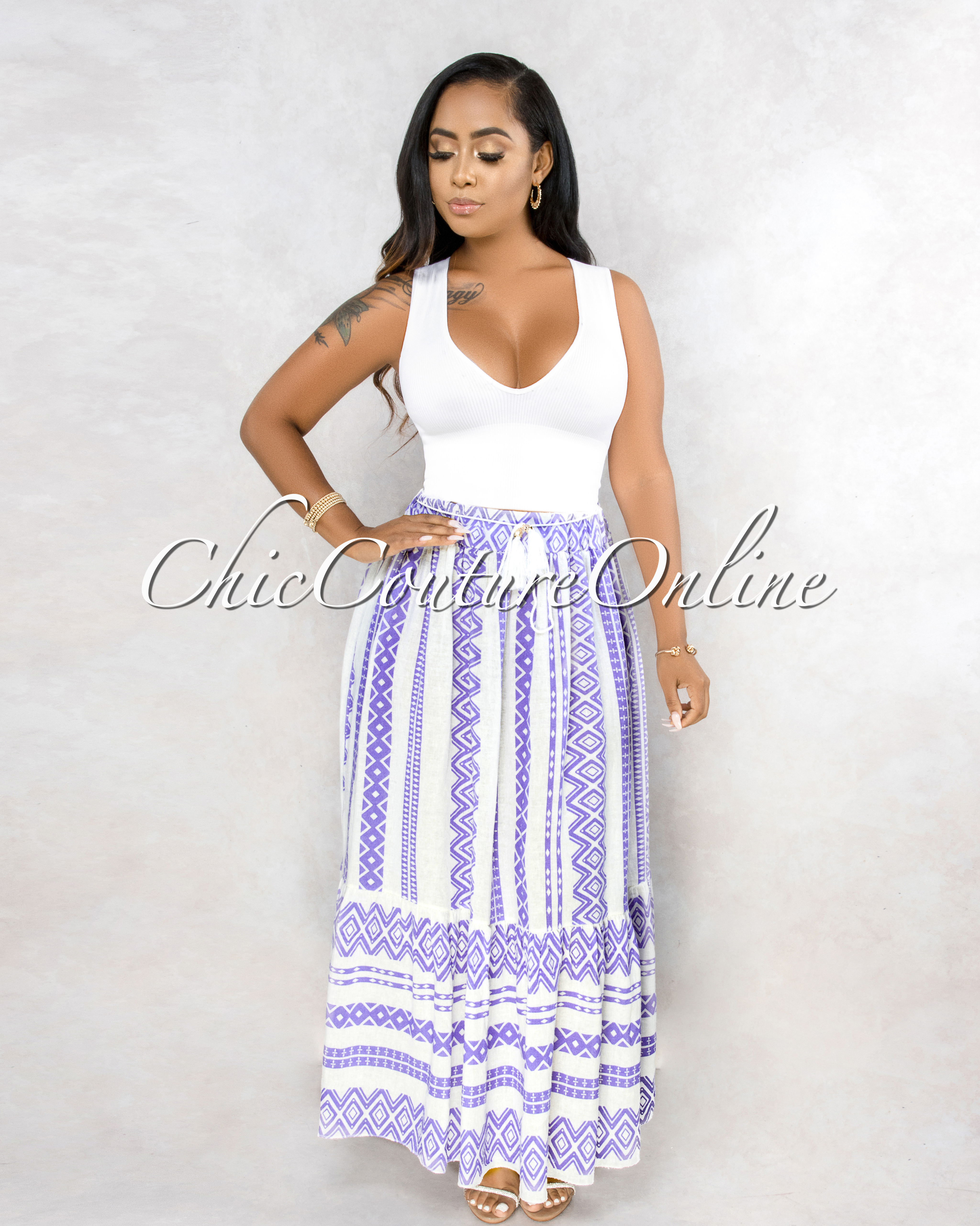 Warda Off-White Lilac Aztec Print Maxi Skirt