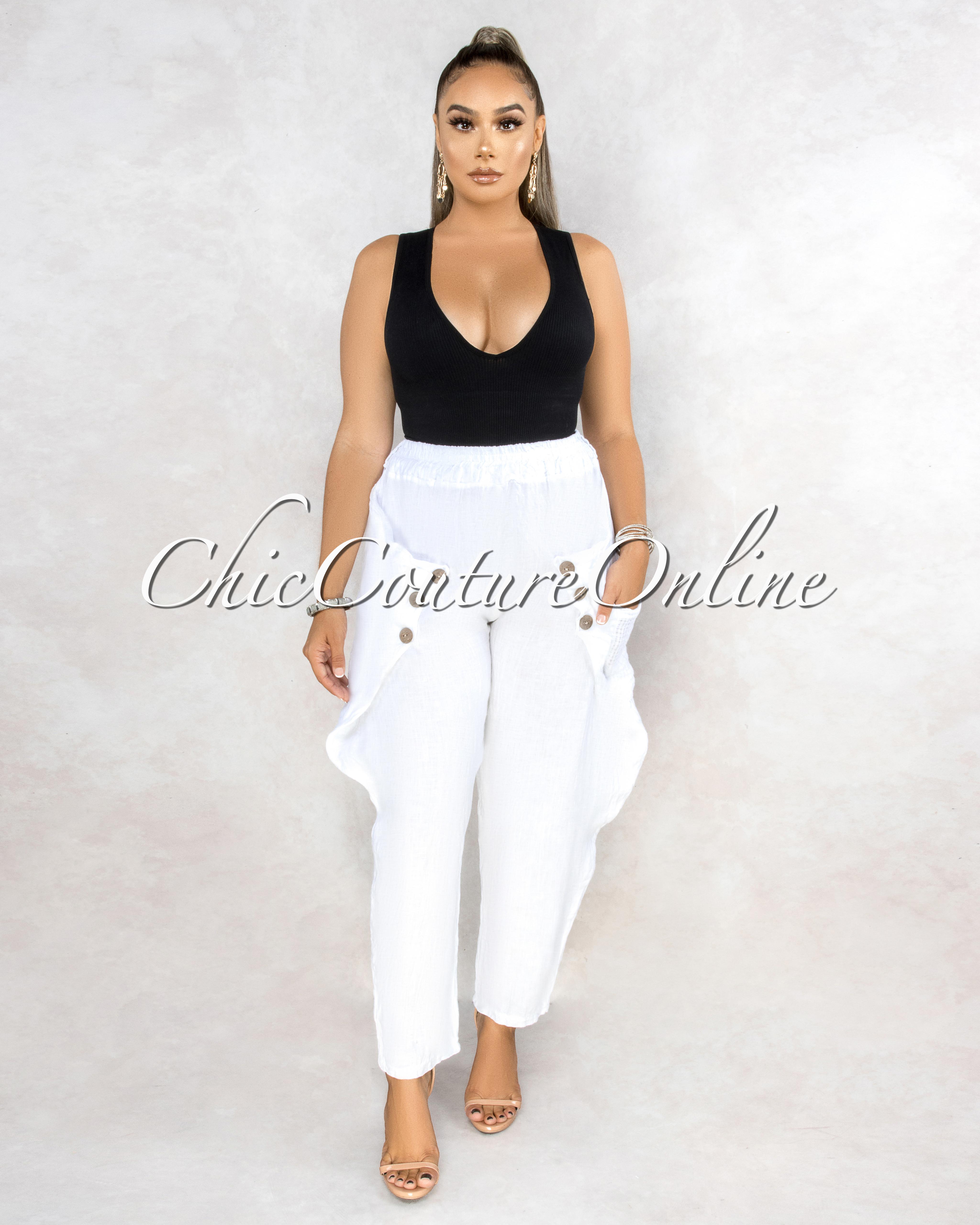 Dorona White Wood Buttons Detail Cargo LINEN Pants