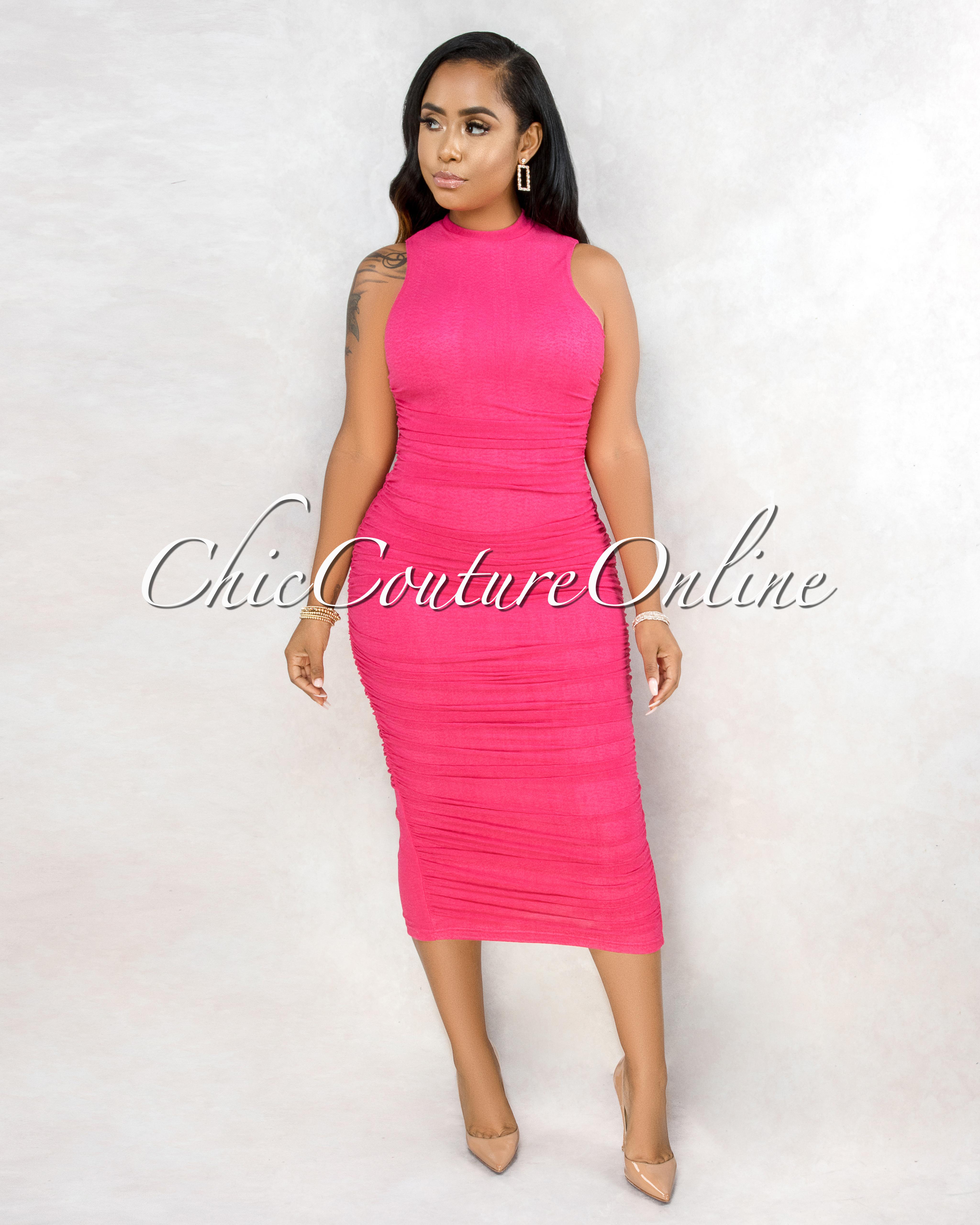 Siany Hot Pink Ruched Mesh Midi Dress