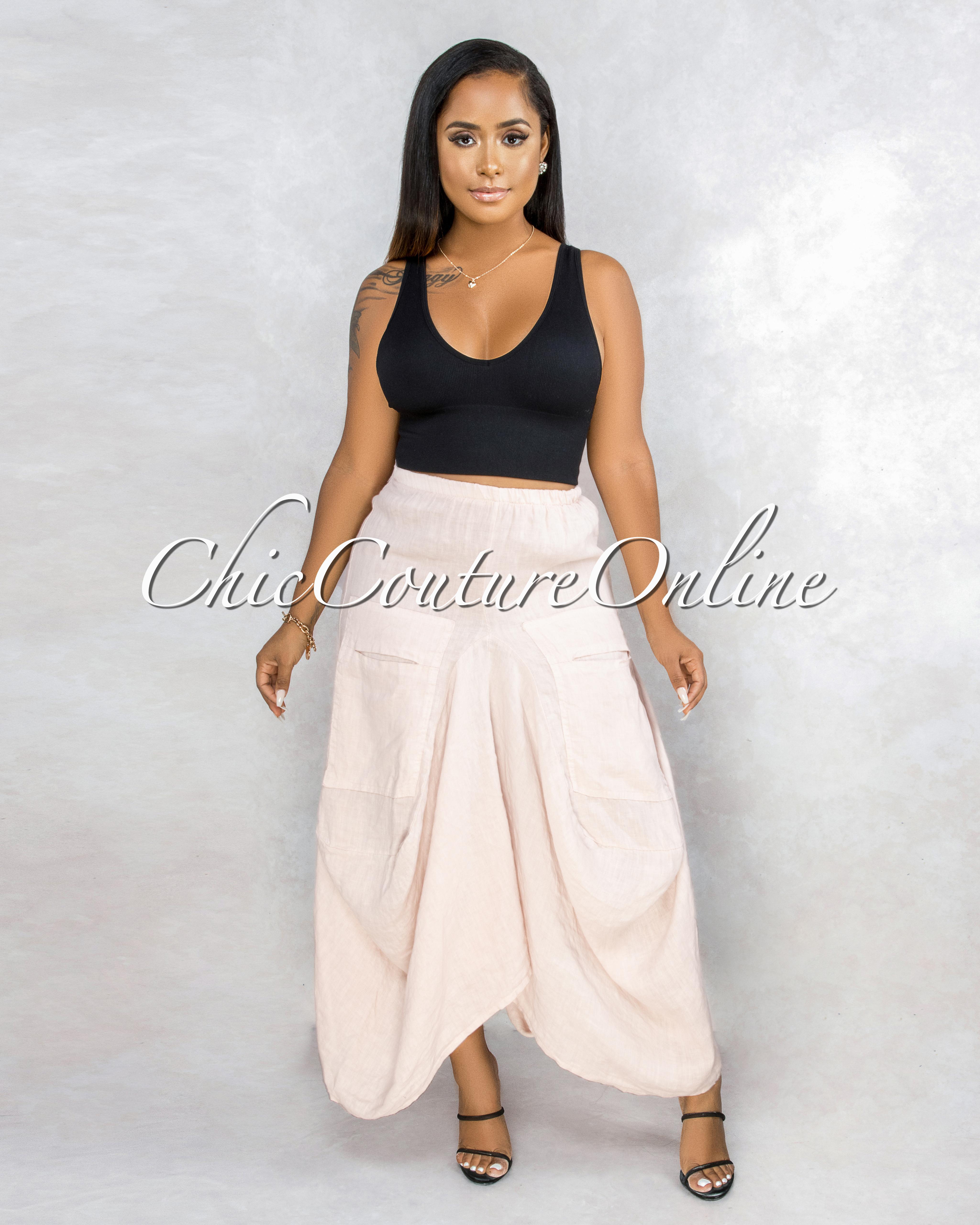 Francelli Blush Cargo Hi-Lo LINEN Skirt