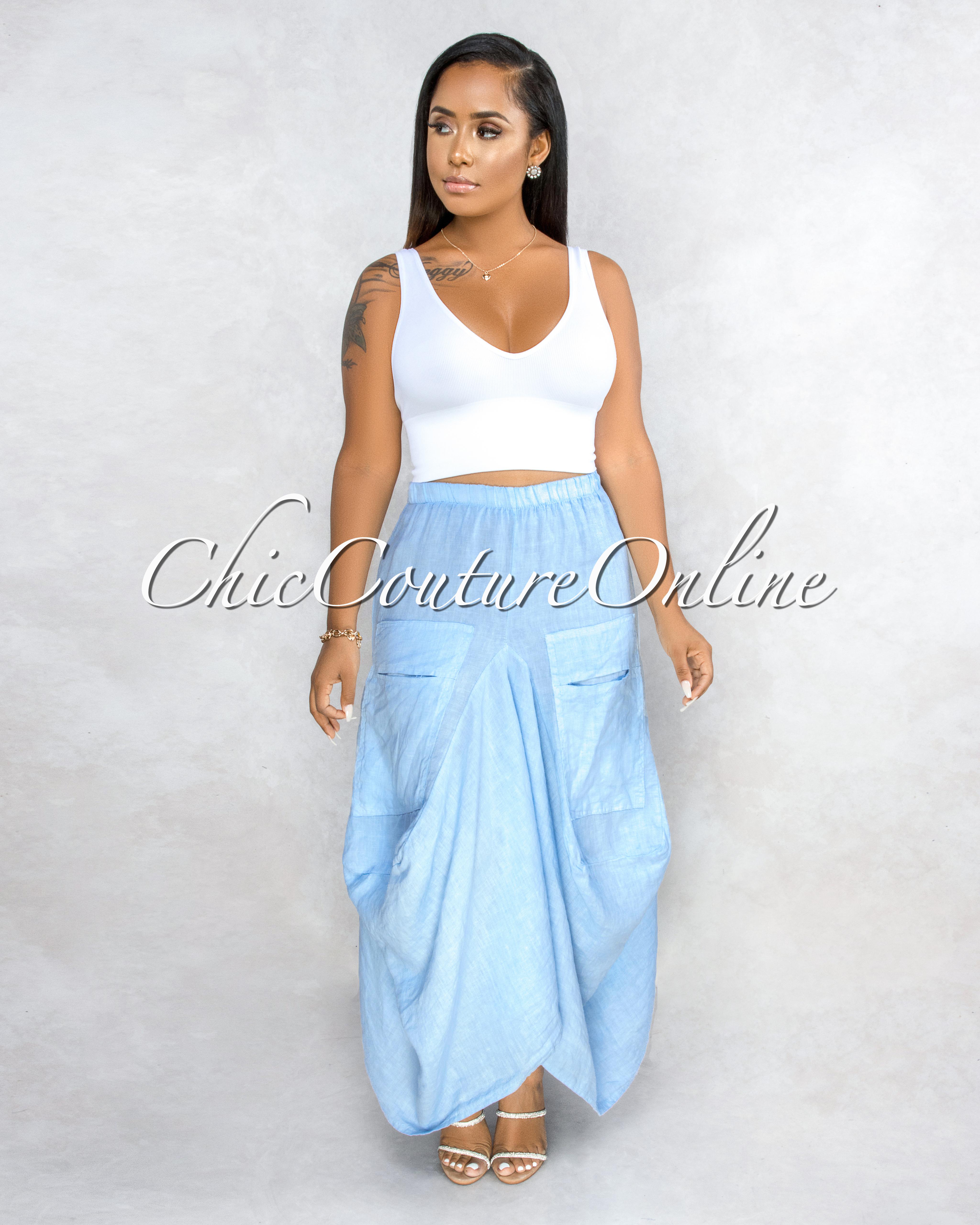 Francelli Baby Blue Cargo Hi-Lo LINEN Skirt