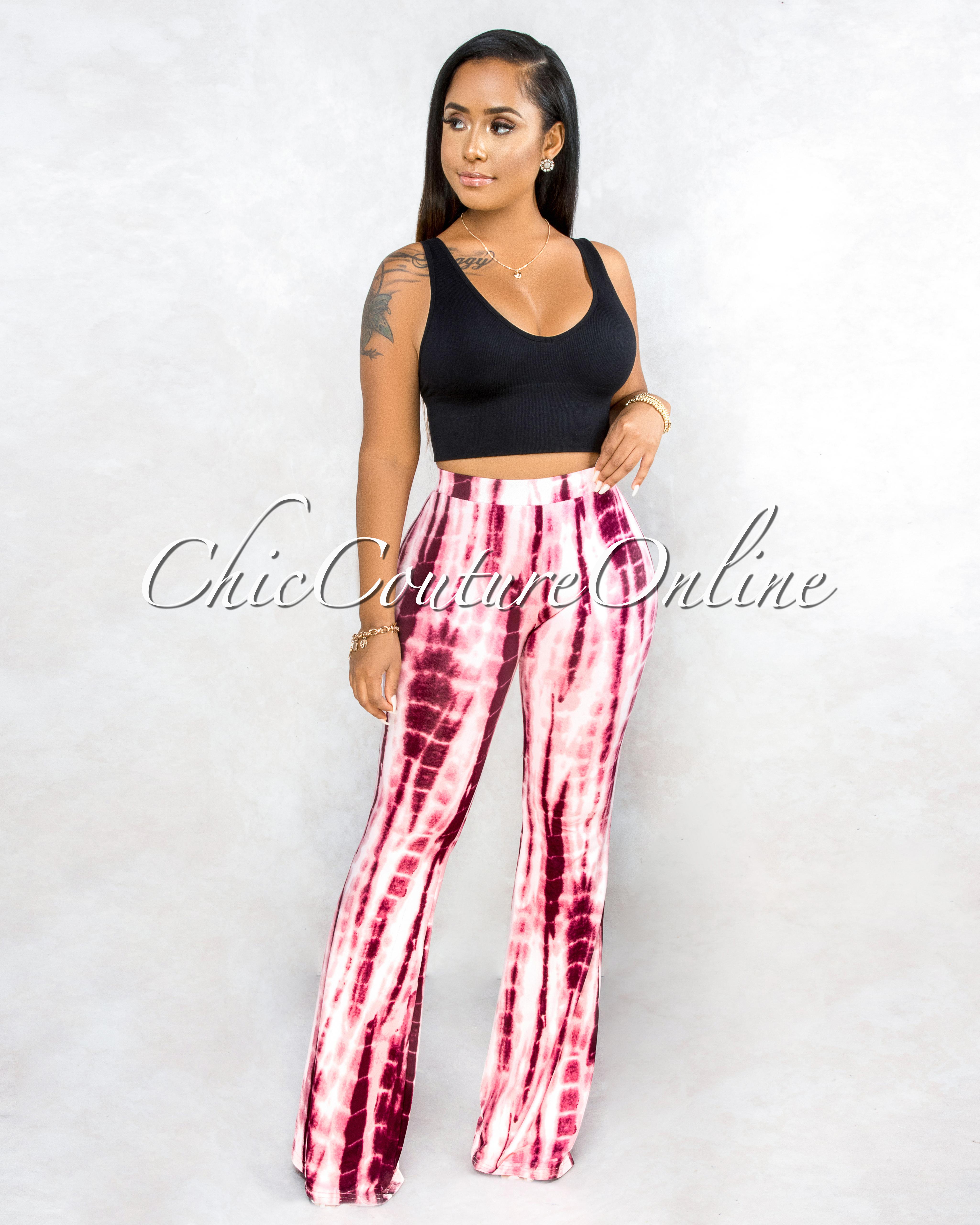 Mericia Pink Multi-Color Tie-Dye Bell Legs Leggings