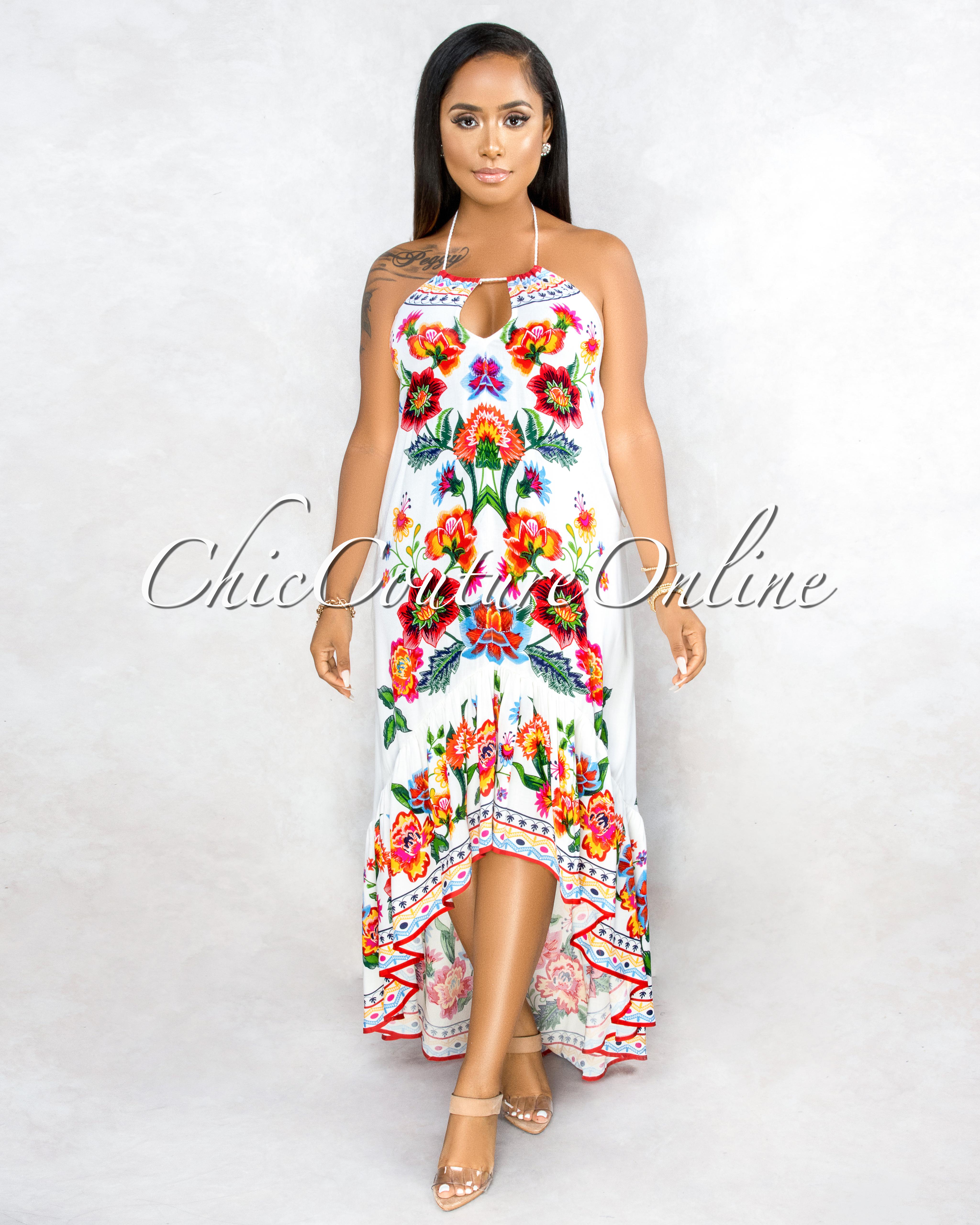 Bixenta Ivory Multi-Color Floral Print Hi-Lo Maxi Dress