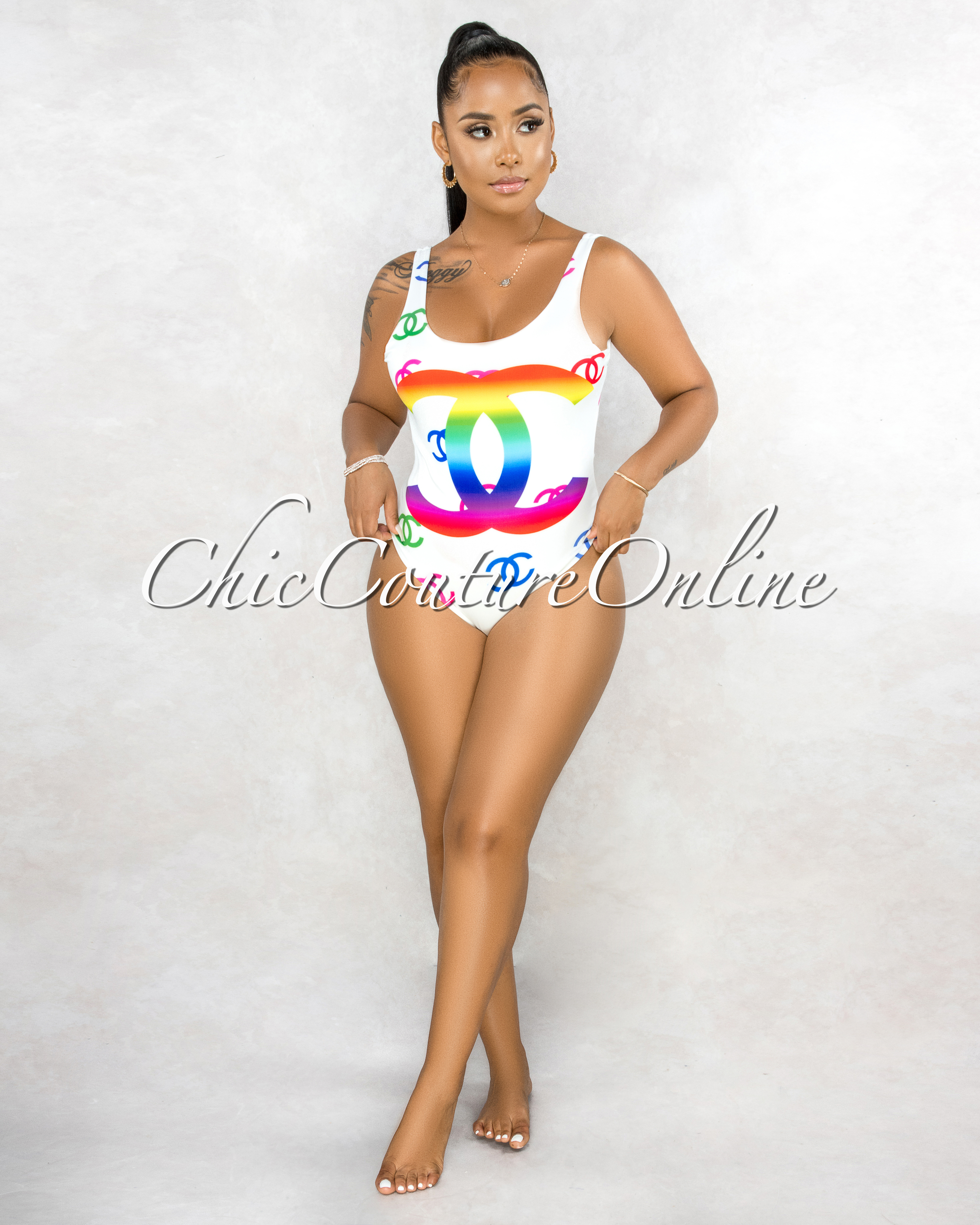 Rusa Off-White Multi Color Graphic Print One Piece Swimsuit