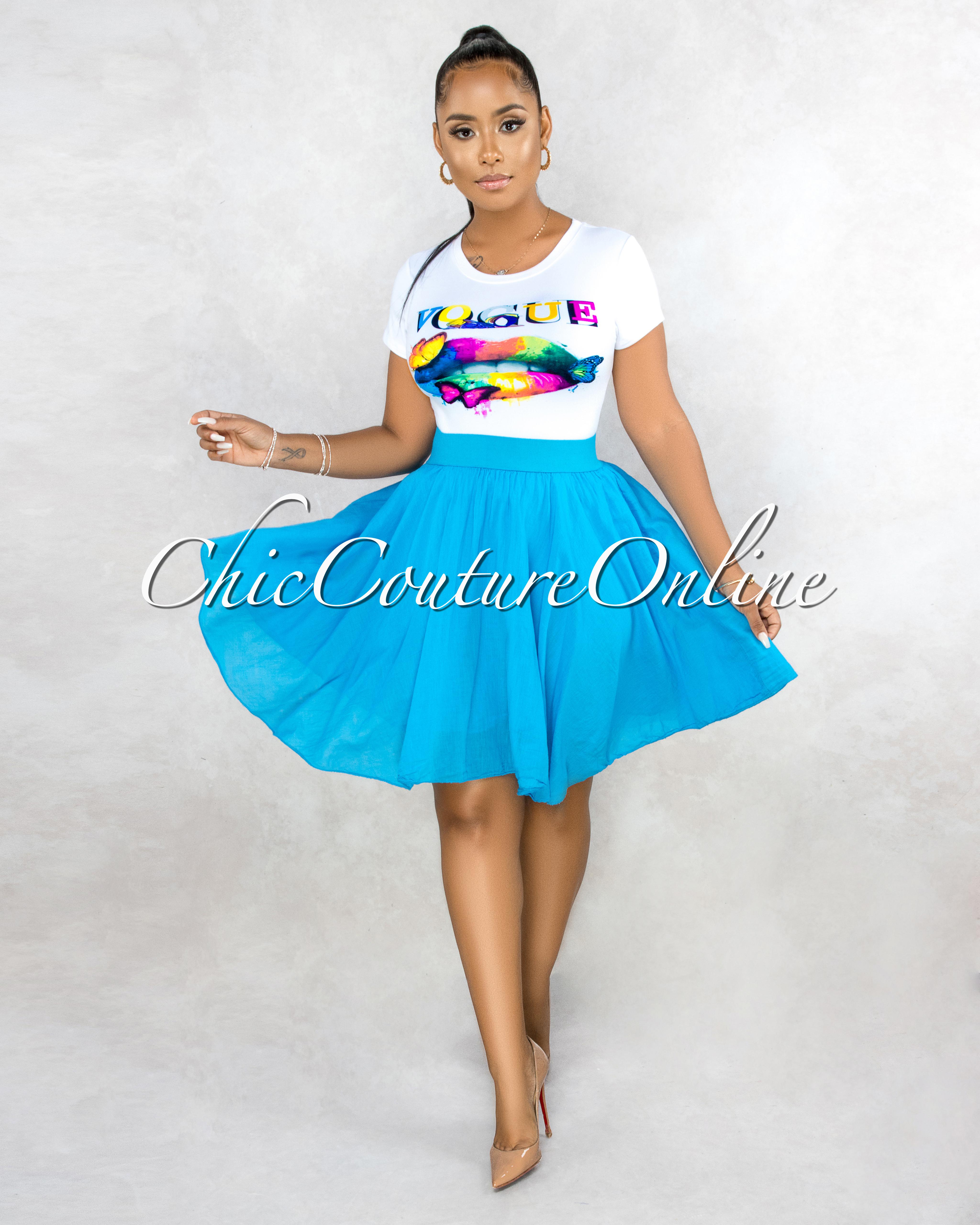 Hilma Turquoise Flutter Mini Skirt