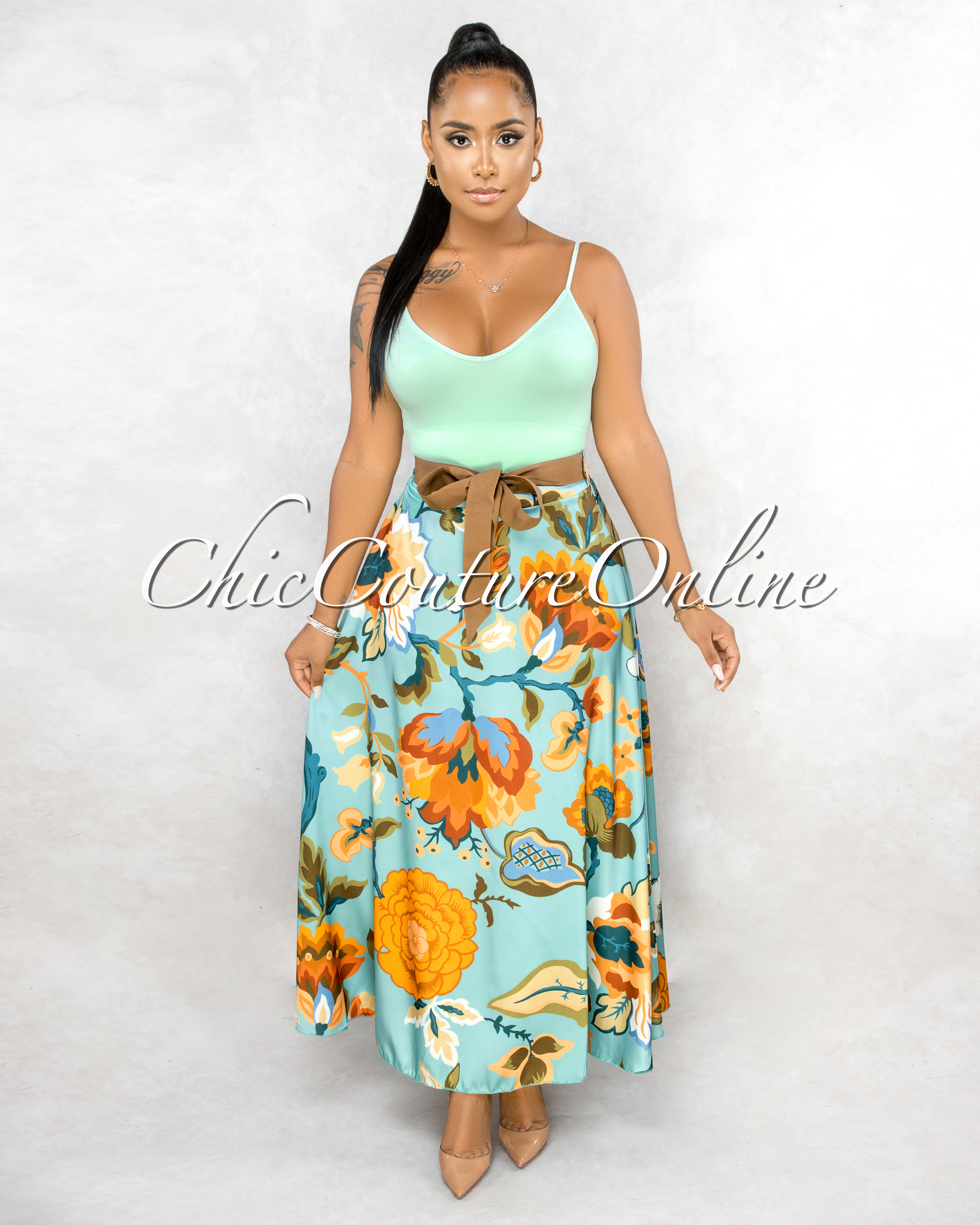 Engracia Aquamarine Multi-Color Floral Print Midi Skirt
