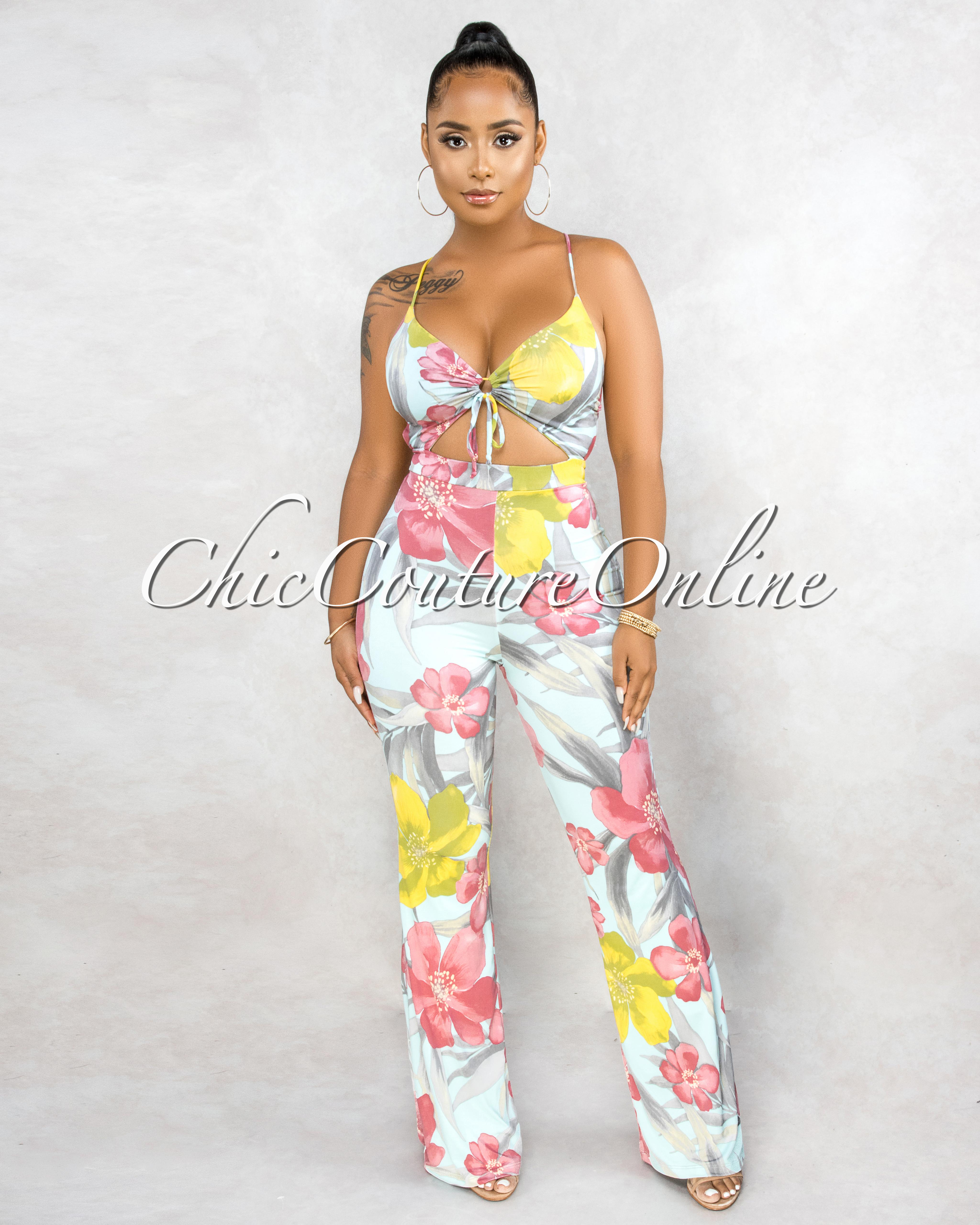 Dirce Mint Multi-Color Floral Print Key-Hole Front Jumpsuit