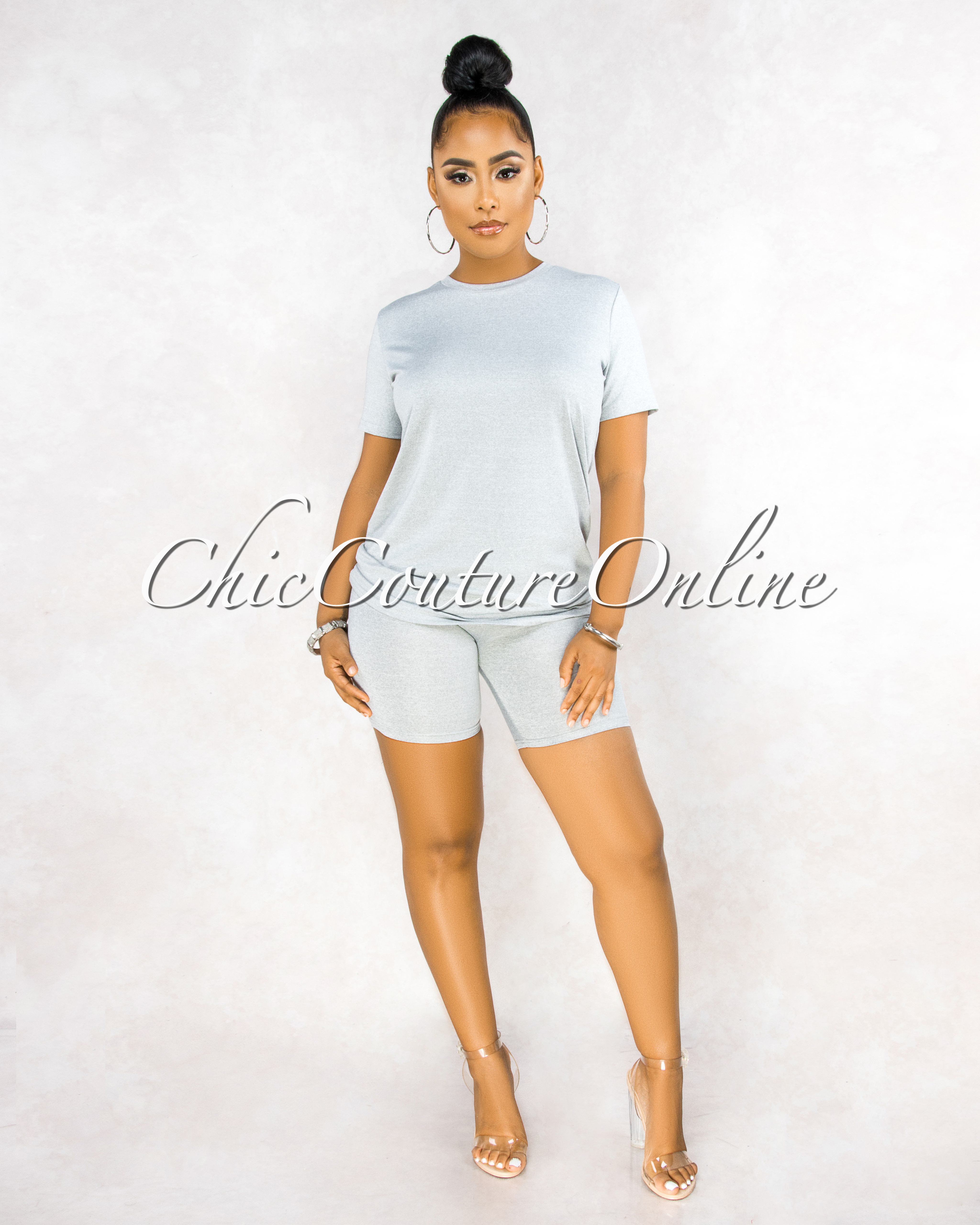 Courtnie Grey Over-sized Shirt Shorts CURVACEOUS Set