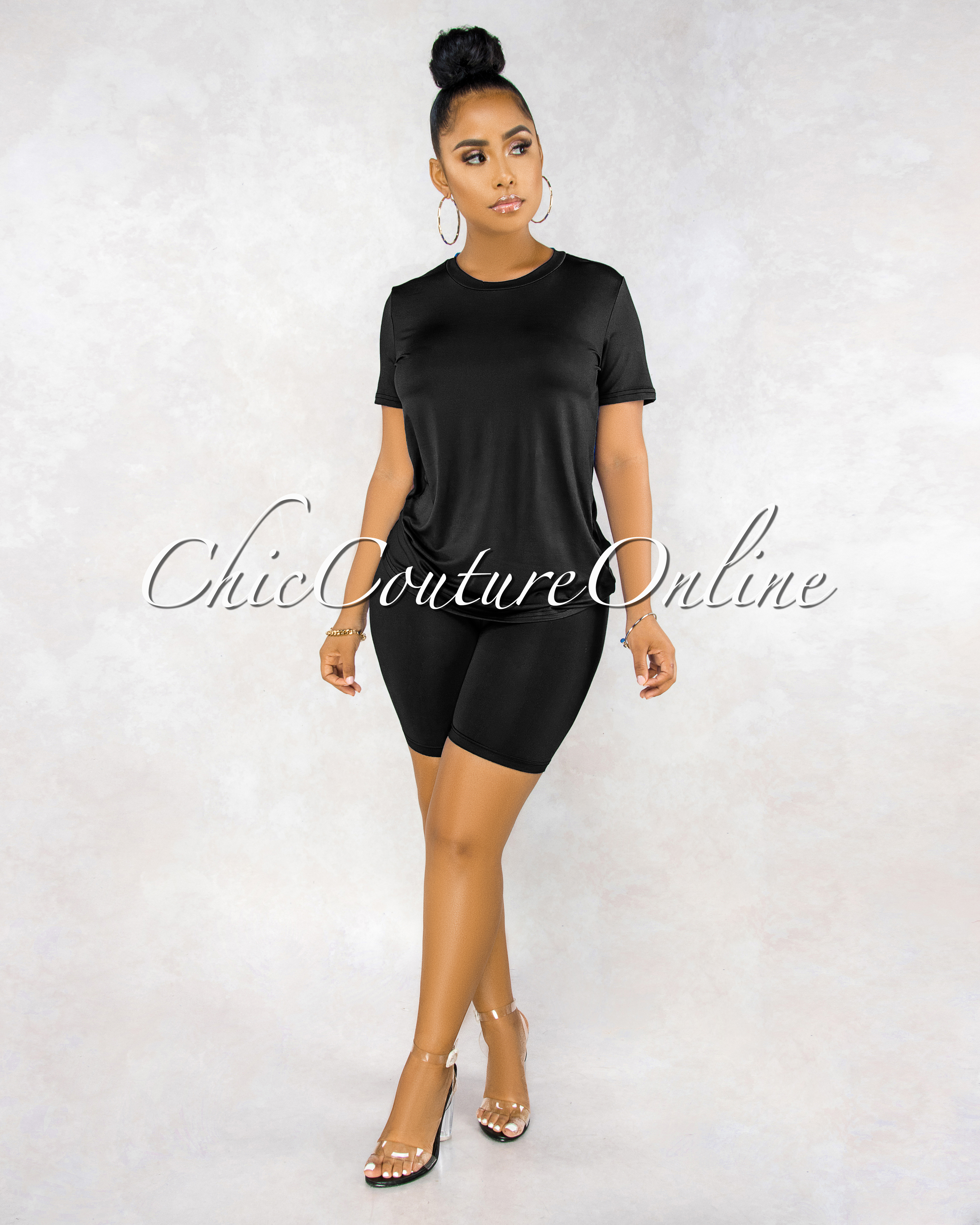 Courtnie Black Over-sized Shirt Shorts CURVACEOUS Set