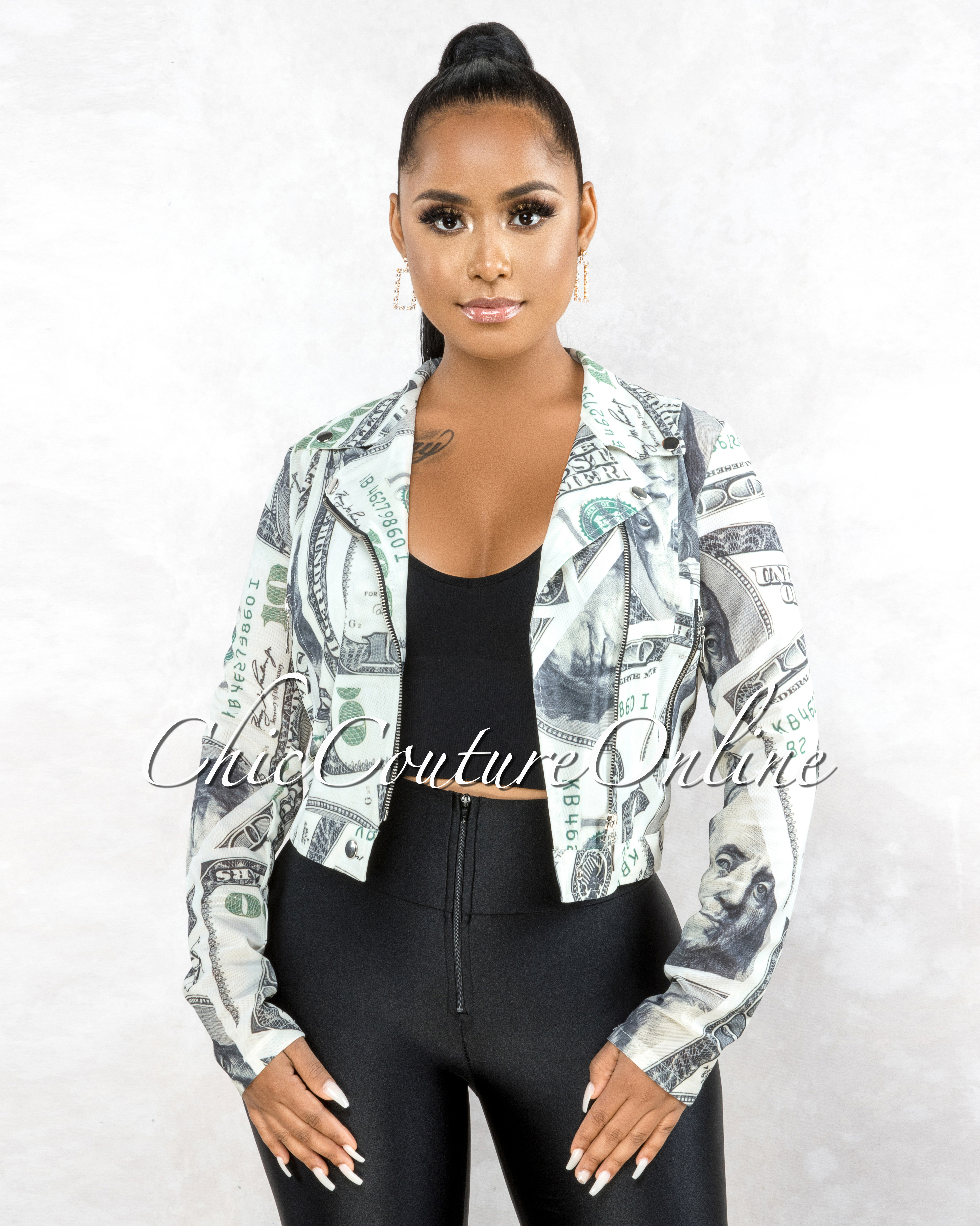 Dinero Off-White Green Money Print  Black Zipper Mesh Jacket