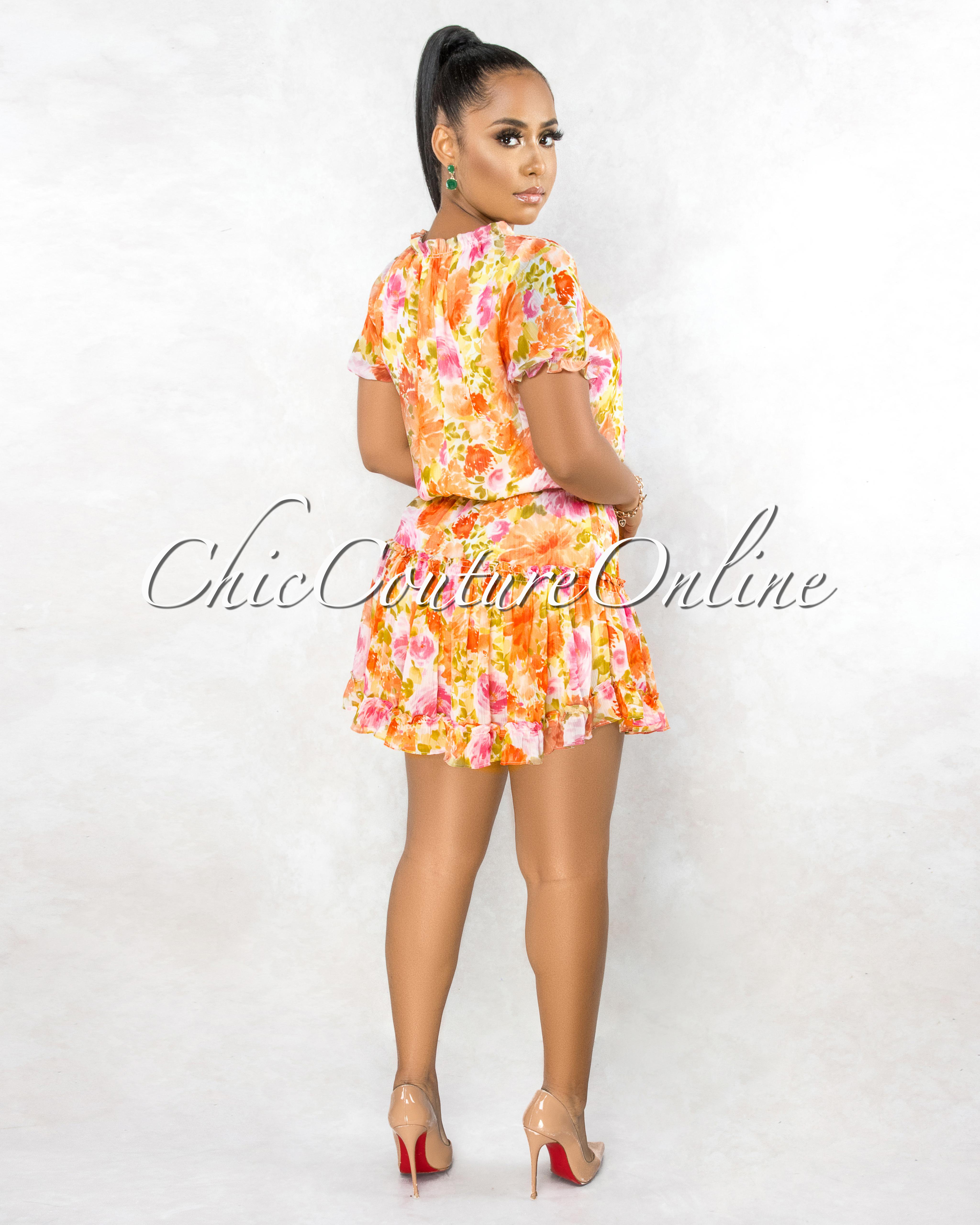 Pheme Pink Orange Floral Print Ruffle Hem Mini Dress