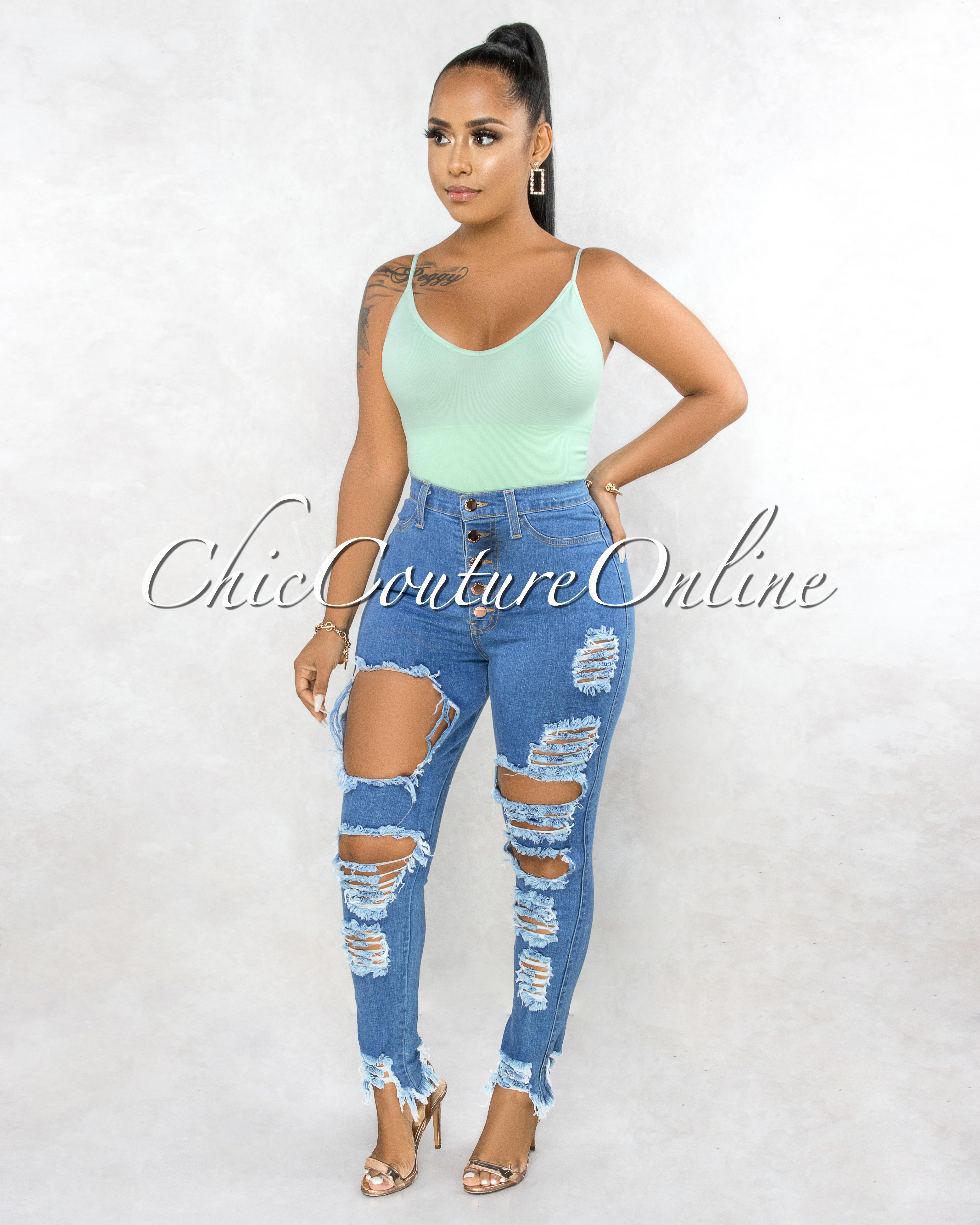 Benita Blue High Waist Rose Gold Buttons Destroyed Jeans