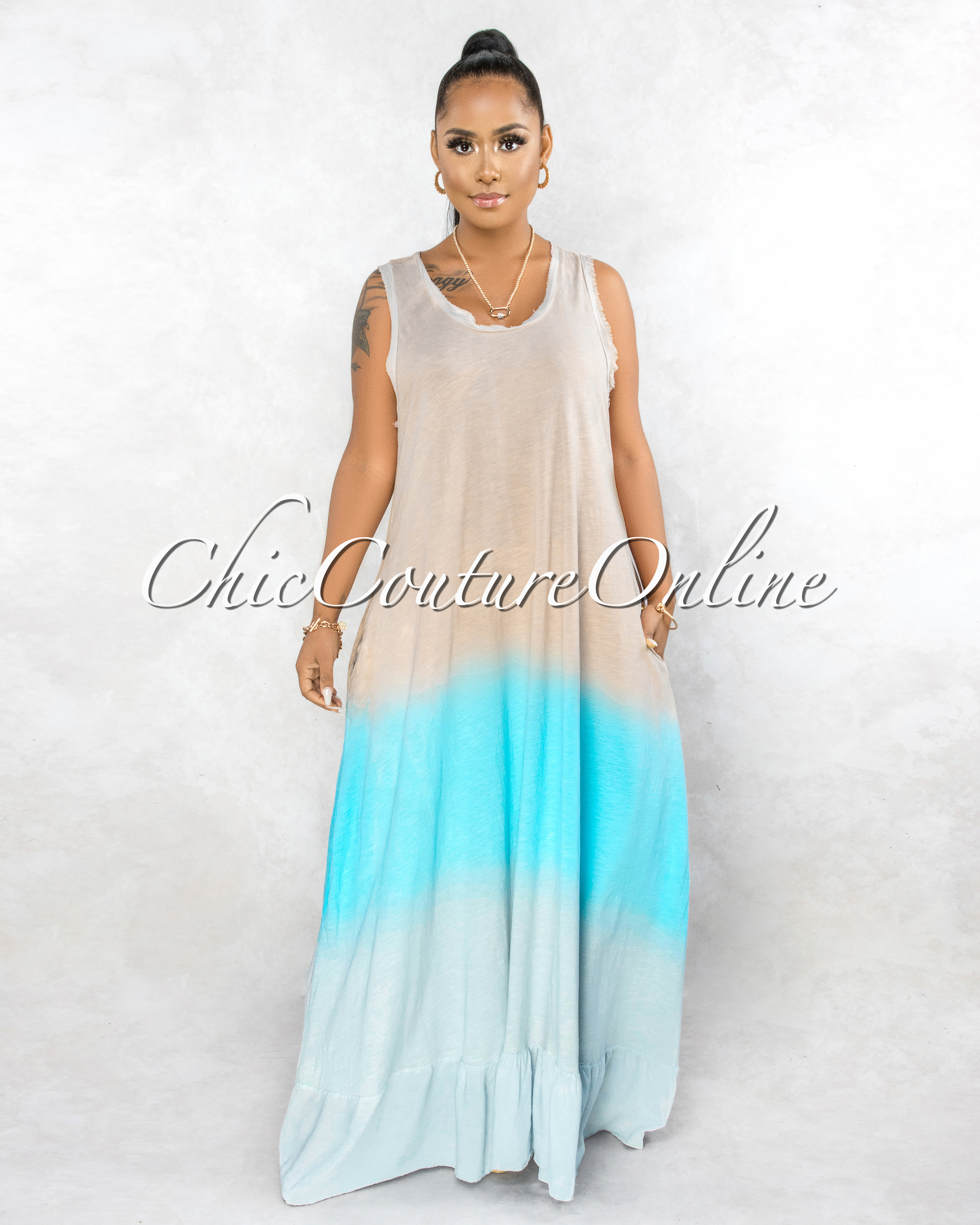Tiaret Blush Baby Blue Ombre Ruffle Maxi Shirt Dress