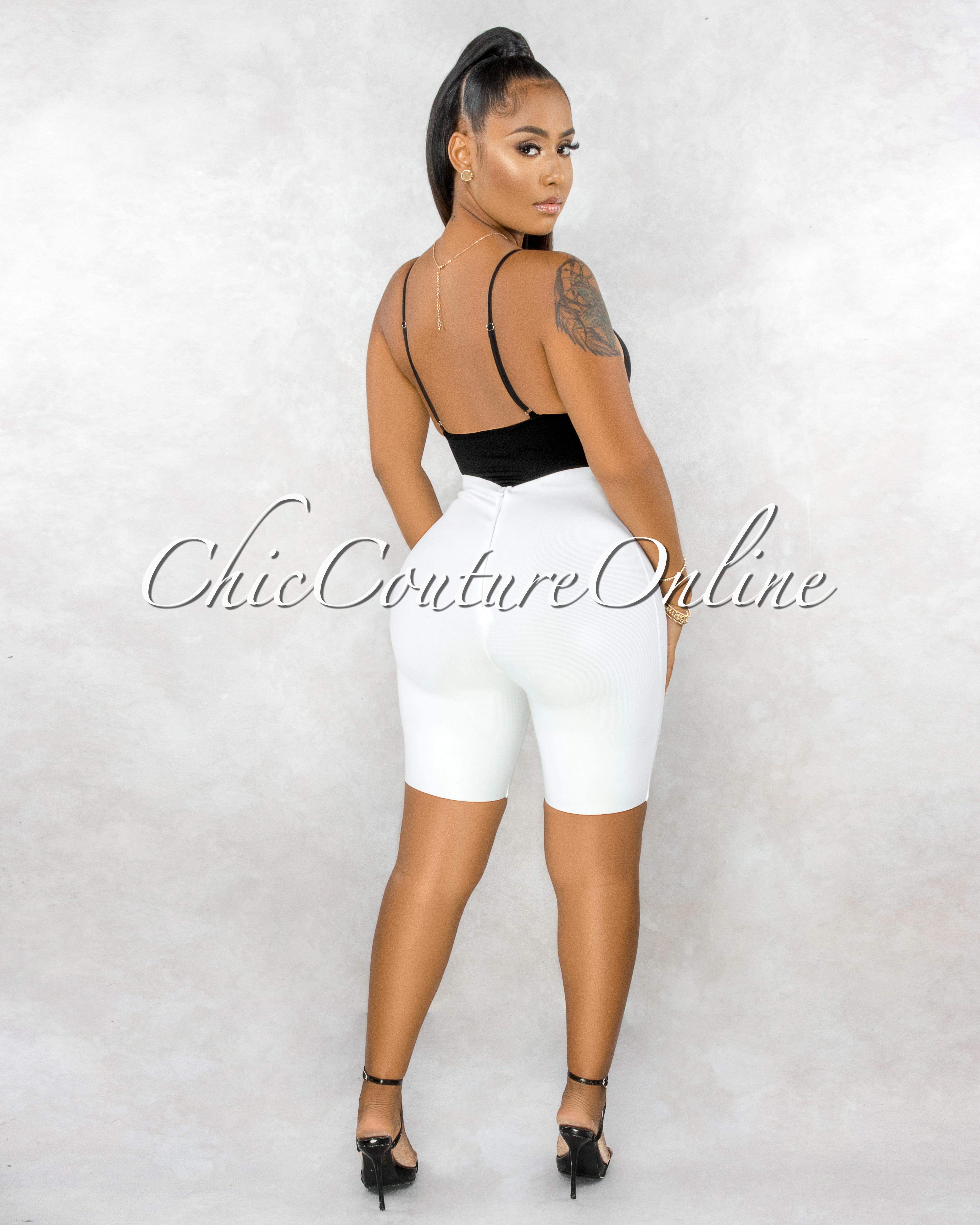 Roccia Off-White Body-Con Bandage Bike Shorts