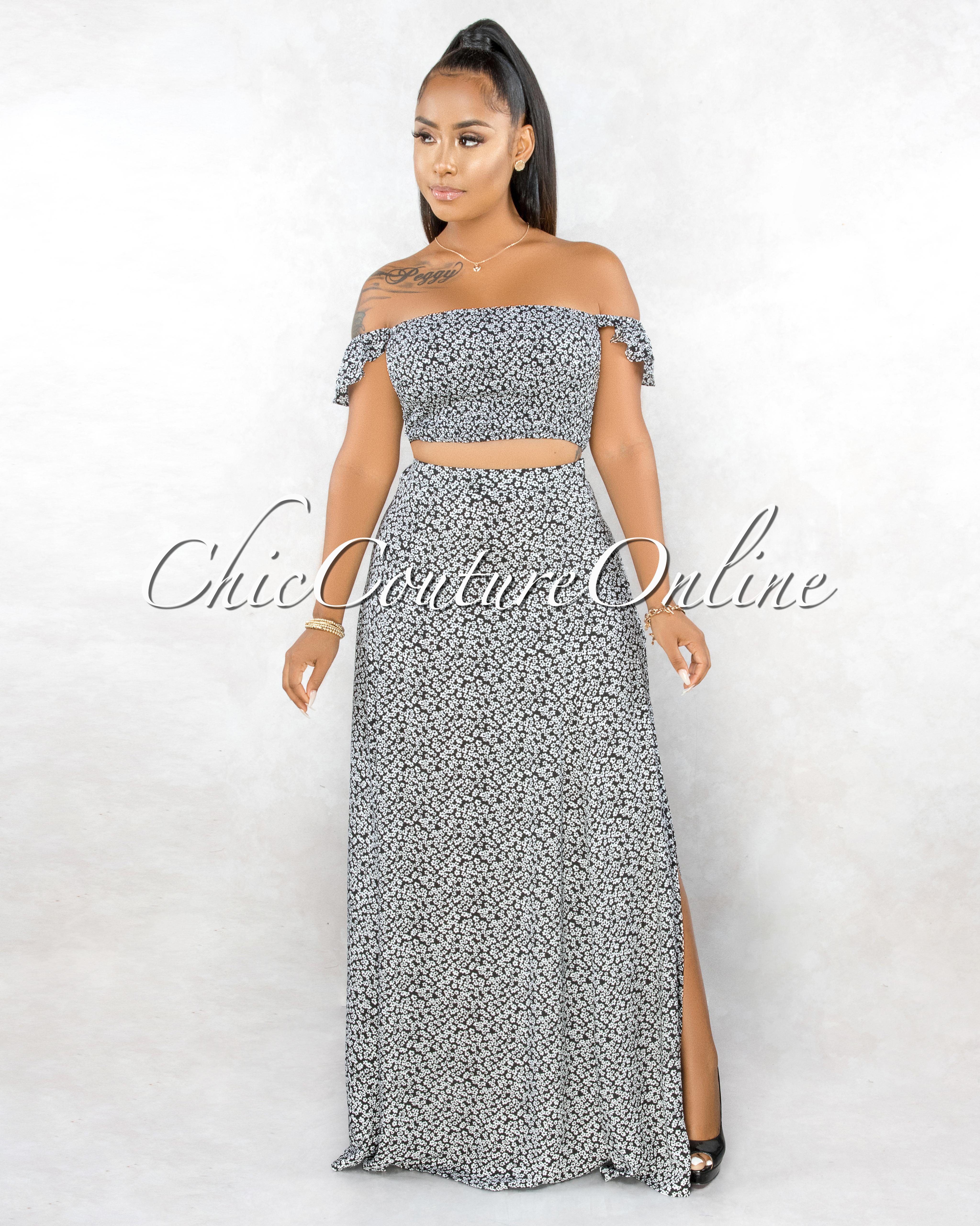 Naiser Black White Floral Print Smocked Top & Maxi Skirt Set